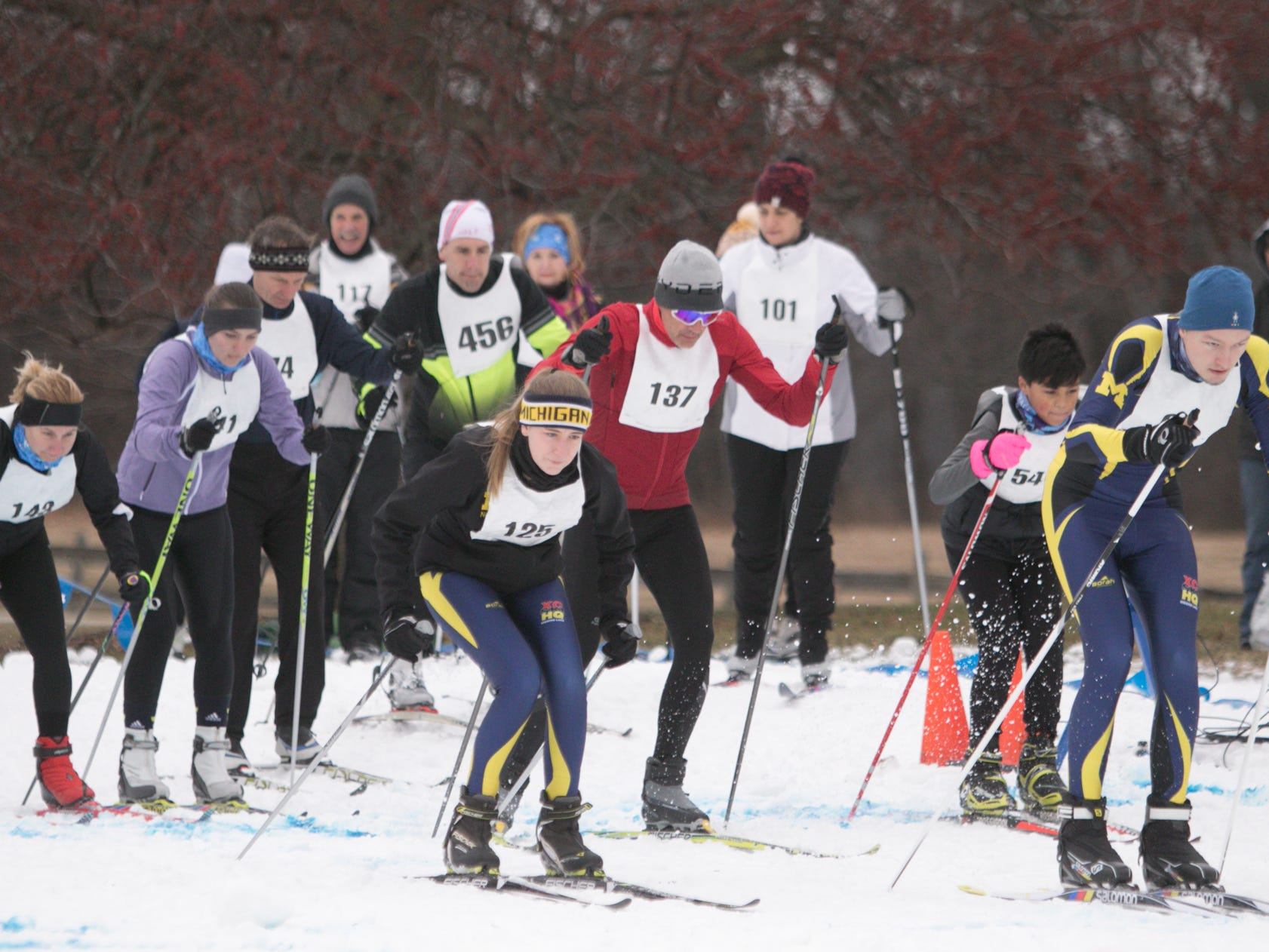 The 5k portion of the Frosty Freestyle race gets underway Saturday, Jan. 12, 2019 at Huron Meadows Metropark.