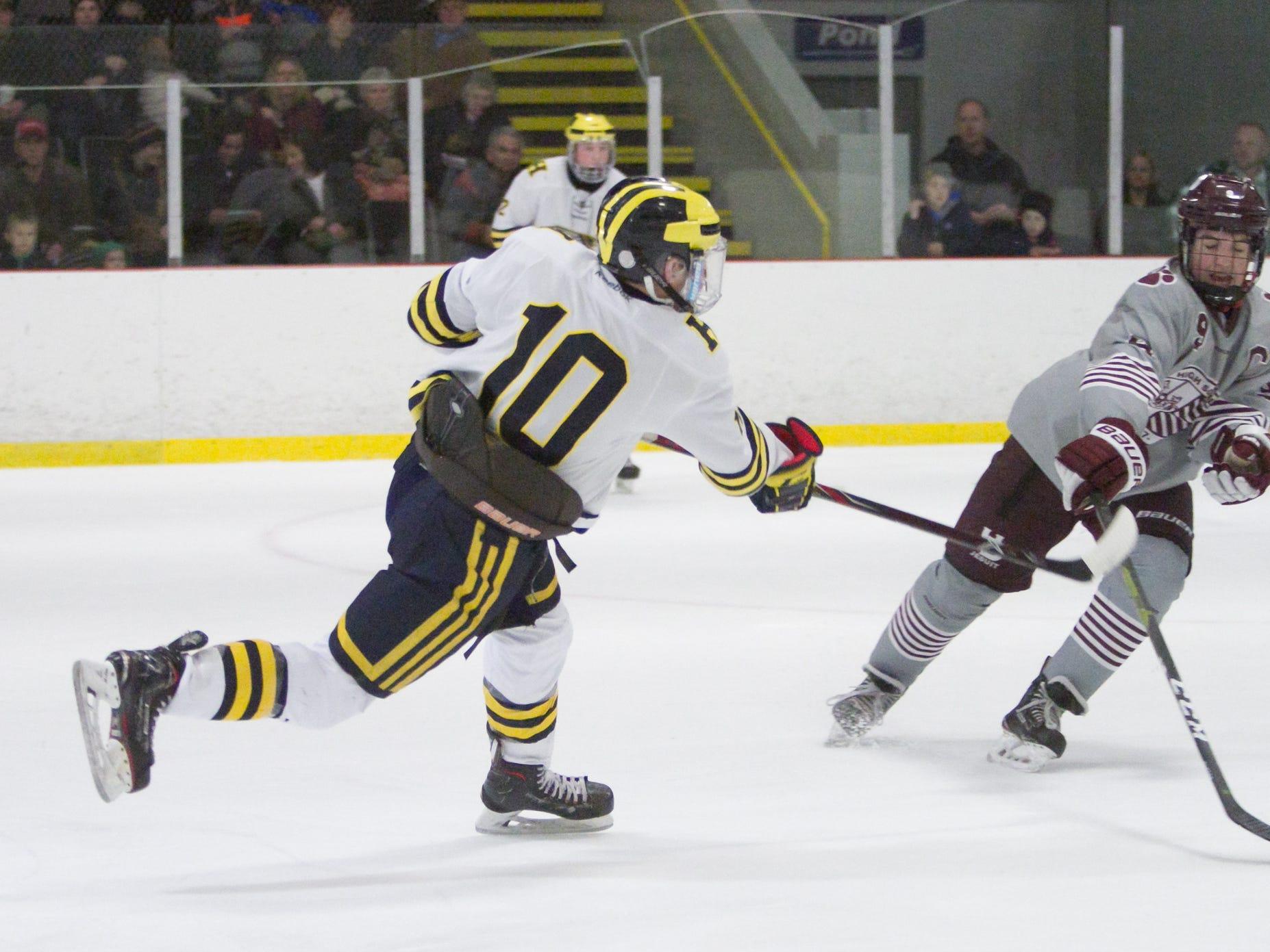 Hartland's Adam Pietila shoots the puck past Detroit U of D Jesuit's Ben Charboneau on Friday, Jan. 11, 2019 at Hartland Sports Center.