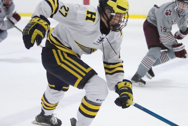 Chet L'Esperance scored Hartland's first goal in a 2-1 victory over Detroit U of D Jesuit on Friday, Jan. 11, 2019 at Hartland Sports Center.
