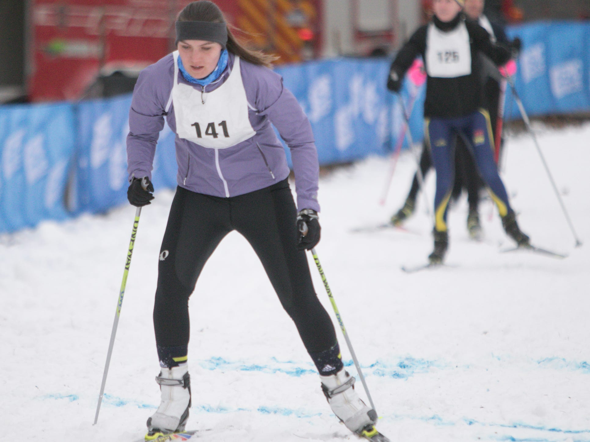 Rebecca Sorgenfrei of Bloomfield Hills was the first female finisher in the Frosty Freestyle 5k race Saturday, Jan. 12, 2019.