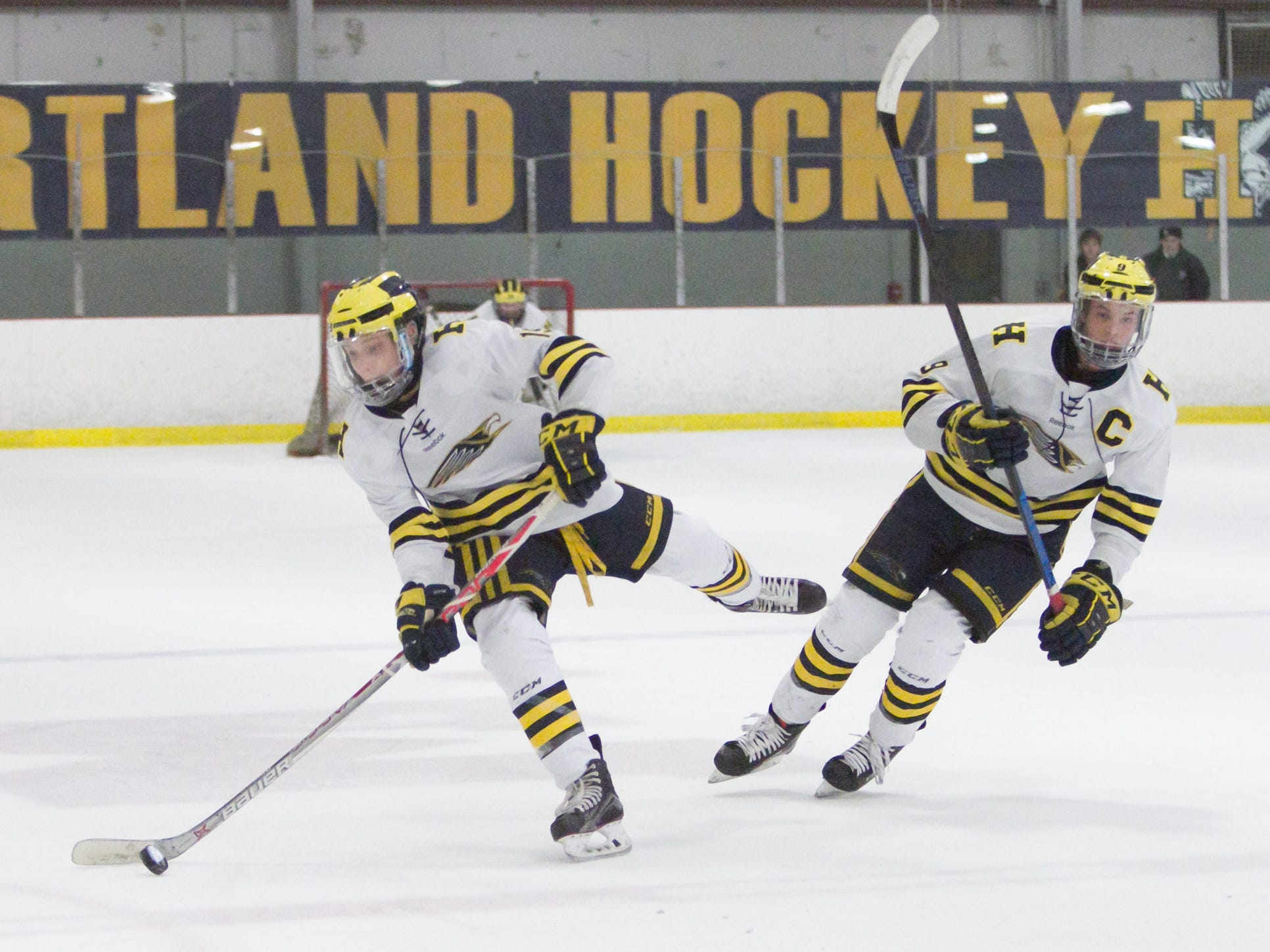 Hartland's Sam Kastamo passes the puck with Joey Larson at right in a 2-1 victory over Detroit U of D Jesuit on Friday, Jan. 11, 2019 at Hartland Sports Center.