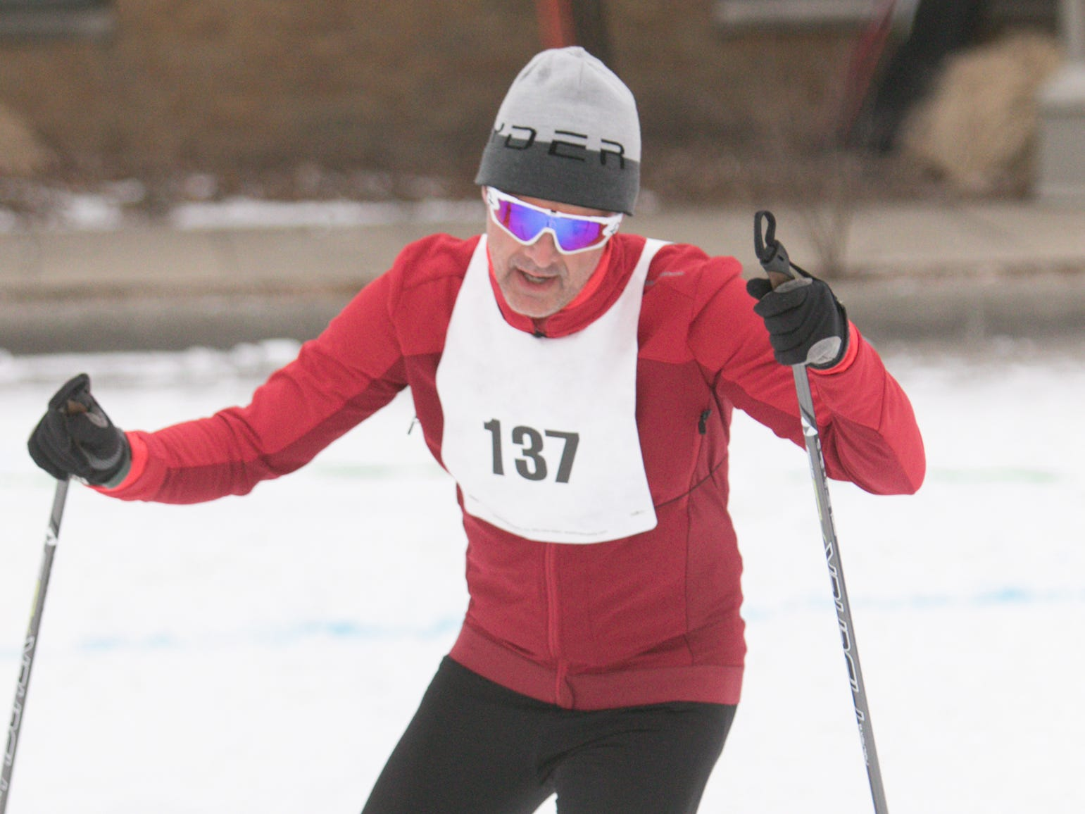 Daniele Castiglioni of Northville finished first overall in the 5k Frosty Freestyle race Saturday, Jan. 12, 2019.