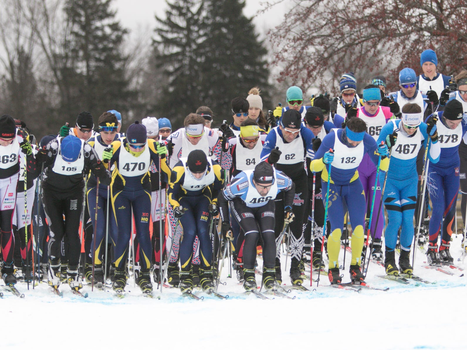 The 15k portion of the Frosty Freestyle cross-country race gets underway in three waves Saturday, Jan. 12, 2019 at Huron Meadows Metropark. Each skier wears a chip that will register the time they cross the start and finish line, so starting in waves doesn't put those starting further back at a disadvantage.