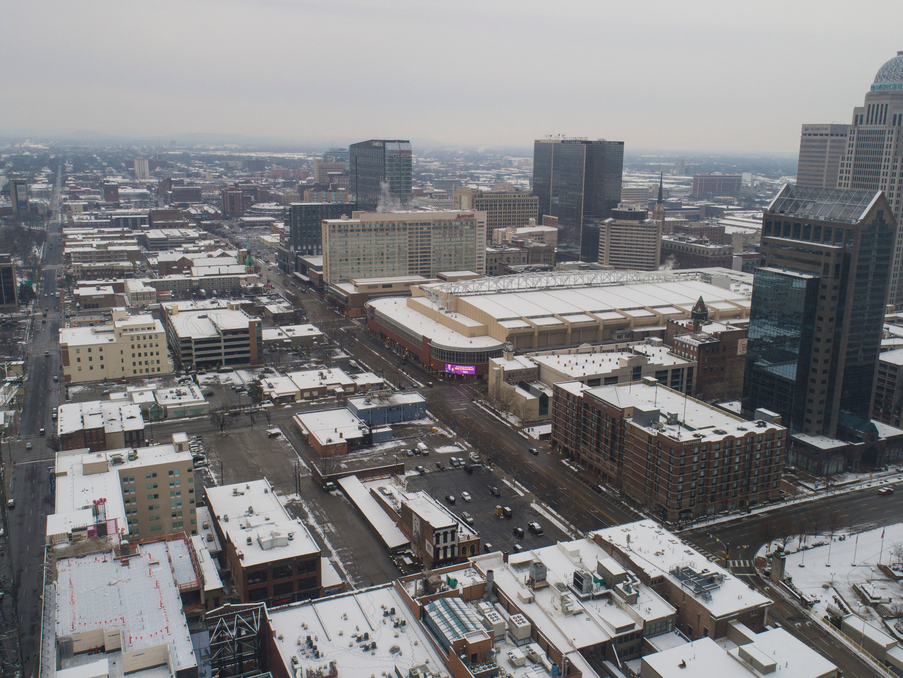An overview of downtown Louisville Saturday morning after the few inches of snow fell through the night. Jan. 12, 2019
