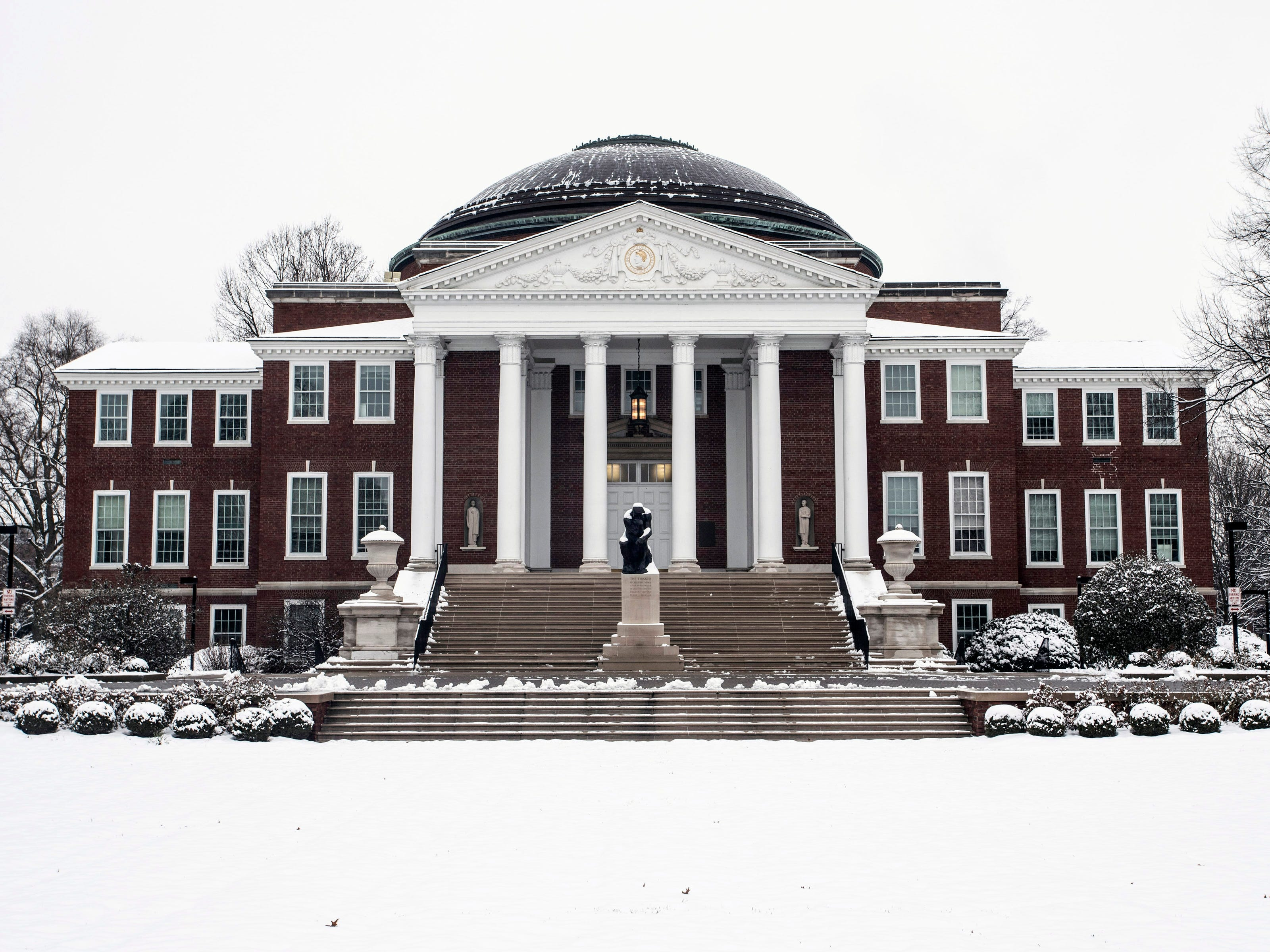 The University of Louisville campus and Grawemeyer Hall had a blanket of snow on Saturday morning. 1/12/19