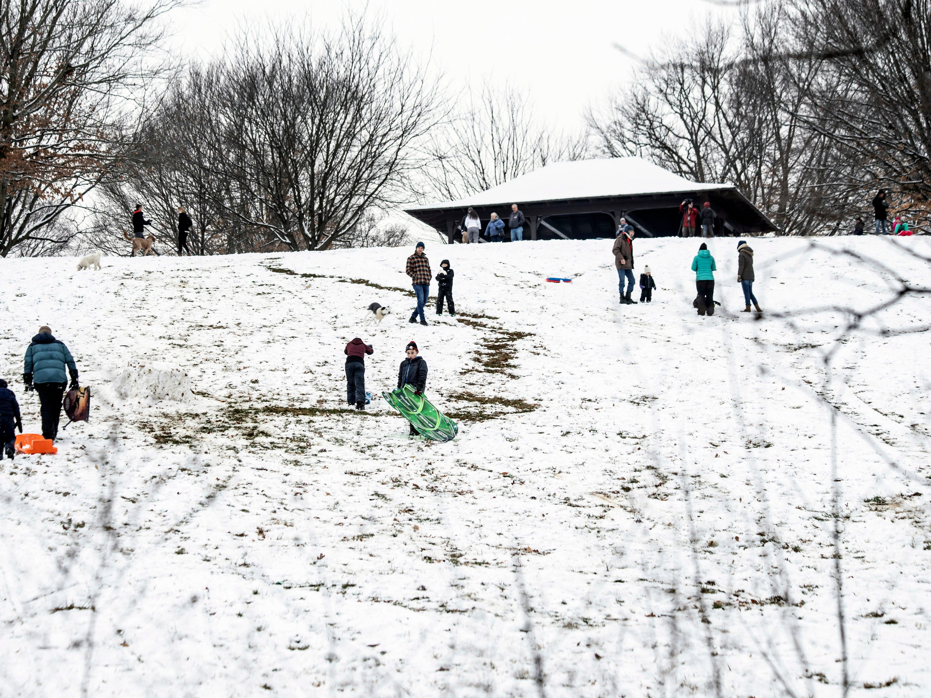 Sledders made the most of Louisville's first snowfall of 2019 at Baringer Hill (aka Dog Hill) in Cherokee Park on Saturday morning. 1/12/19