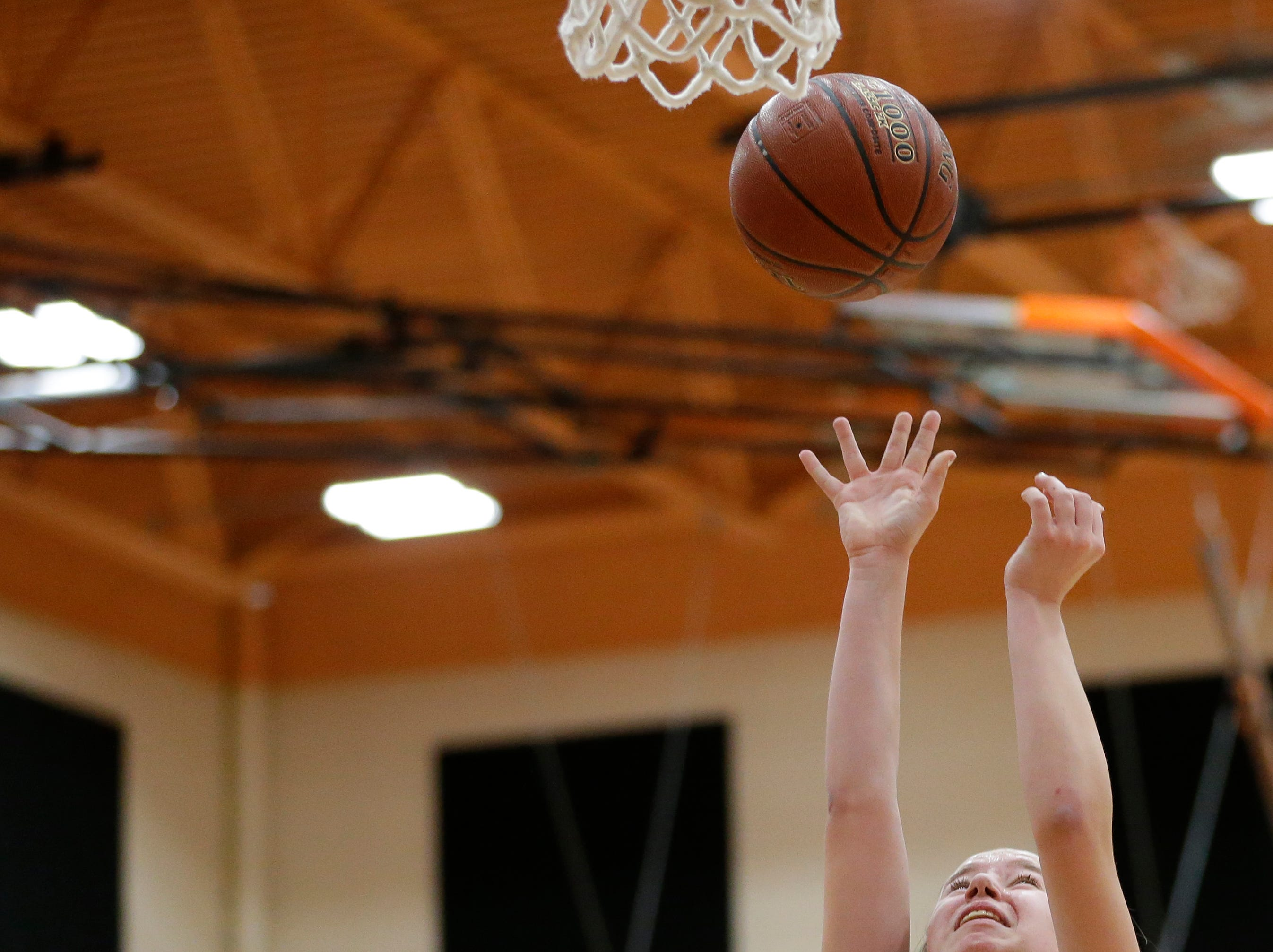 Mishicot's Kally Krueger shoots against Sheboygan Area Lutheran during a Big East Conference matchup at Mishicot High School Friday, January 11, 2019, in Mishicot, Wis. Joshua Clark/USA TODAY NETWORK-Wisconsin