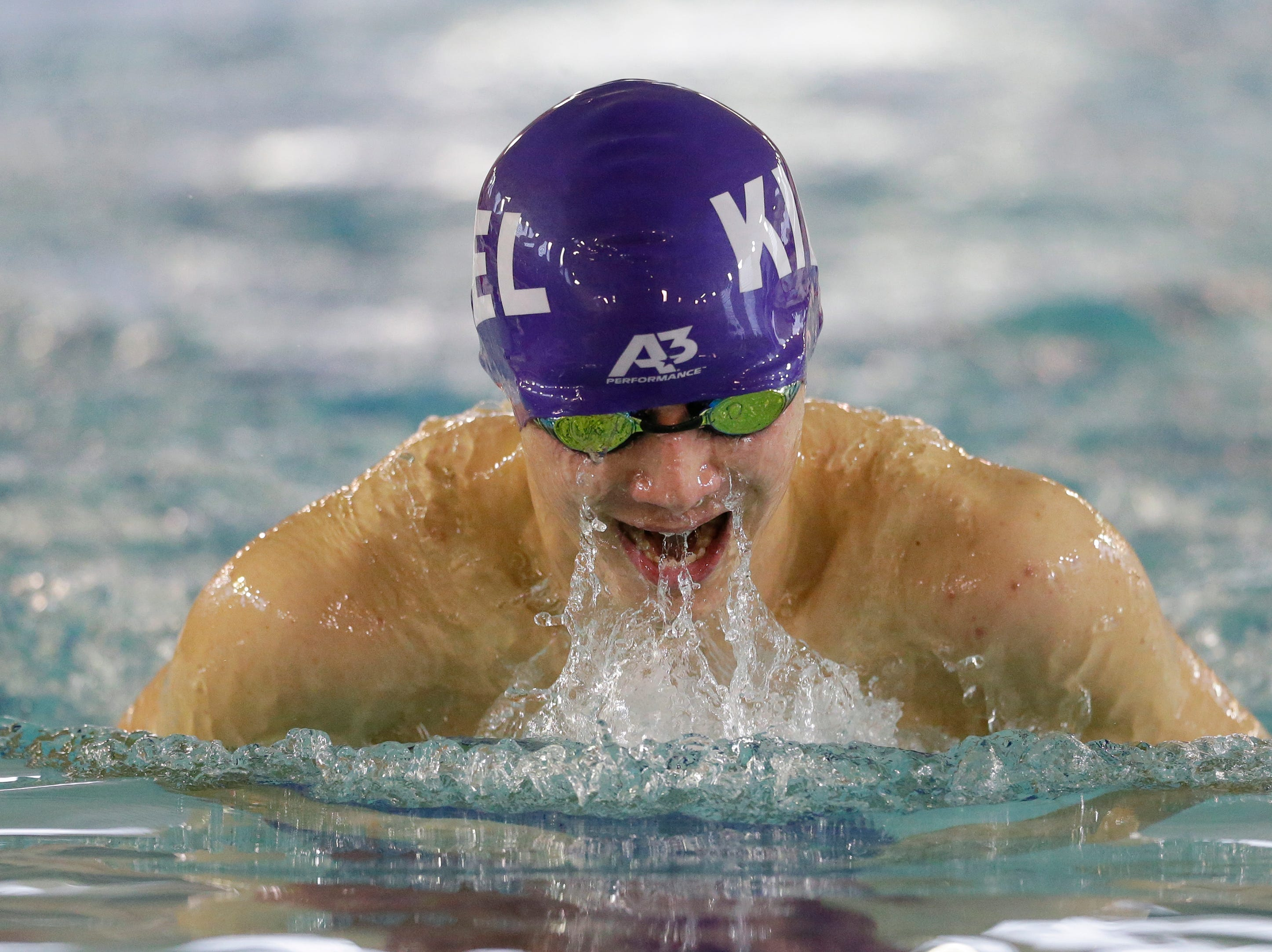 Kiel's Charlie Tanouye swims in the 100-yard breaststroke during the Lincoln Boys Swim Invitational at Manitowoc Lincoln High School Saturday, January 12, 2019, in Manitowoc, Wis. Joshua Clark/USA TODAY NETWORK-Wisconsin