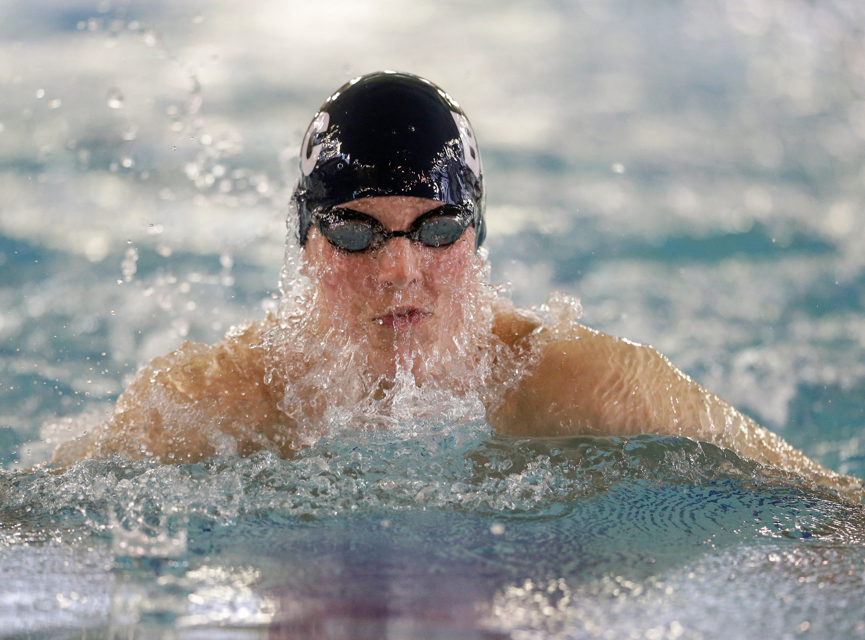 Brillion/Chilton/Valders' Parker Sonnabend swims in the 100-yard breaststroke during the Lincoln Boys Swim Invitational at Manitowoc Lincoln High School Saturday, January 12, 2019, in Manitowoc, Wis. Joshua Clark/USA TODAY NETWORK-Wisconsin