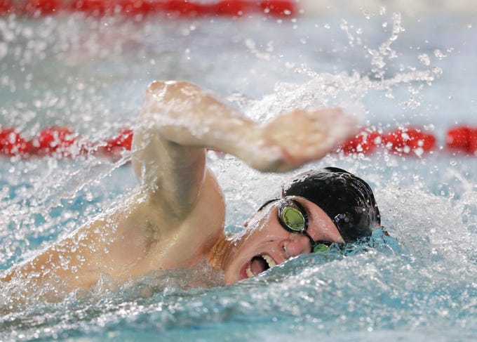 Lincoln's Gavin Maurer swims in the 200-yard freestyle during the Lincoln Boys Swim Invitational at Manitowoc Lincoln High School Saturday, January 12, 2019, in Manitowoc, Wis. Joshua Clark/USA TODAY NETWORK-Wisconsin
