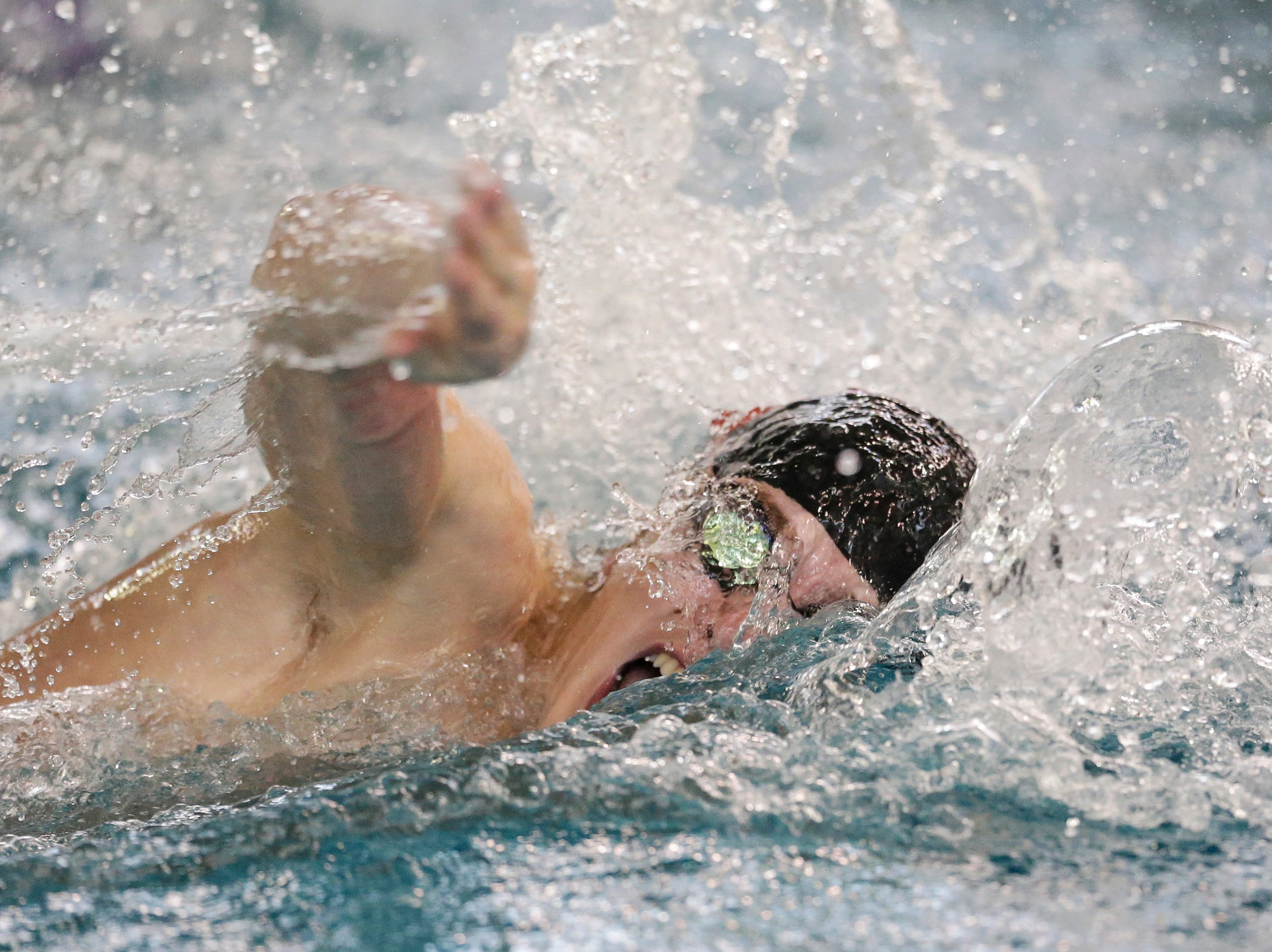 Lincoln's Gavin Maurer swims in the 100-yard freestyle during the Lincoln Boys Swim Invitational at Manitowoc Lincoln High School Saturday, January 12, 2019, in Manitowoc, Wis. Joshua Clark/USA TODAY NETWORK-Wisconsin