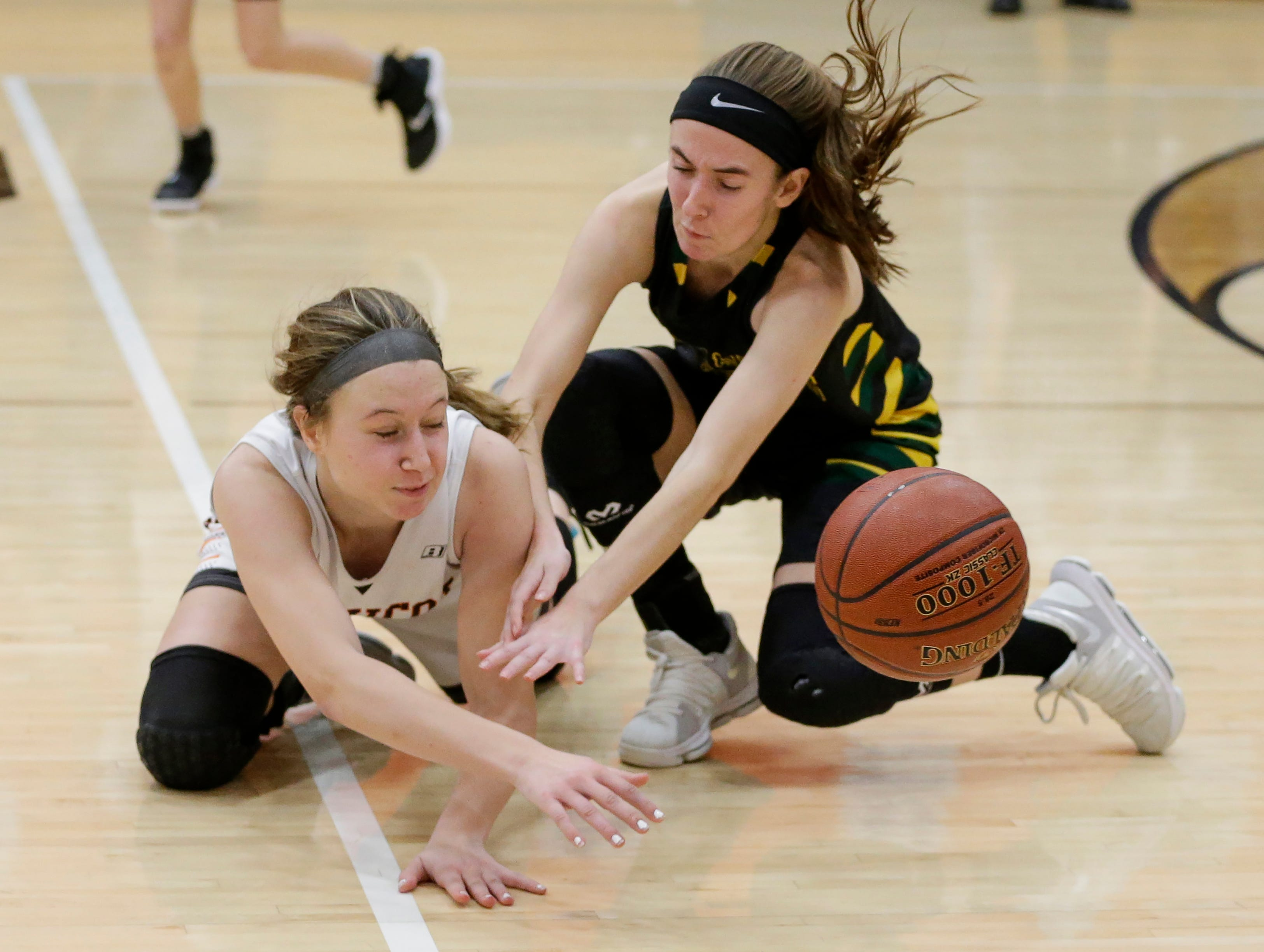 Mishicot's Kally Krueger (23) knocks the ball away from Sheboygan Area Lutheran during a Big East Conference matchup at Mishicot High School Friday, January 11, 2019, in Mishicot, Wis. Joshua Clark/USA TODAY NETWORK-Wisconsin