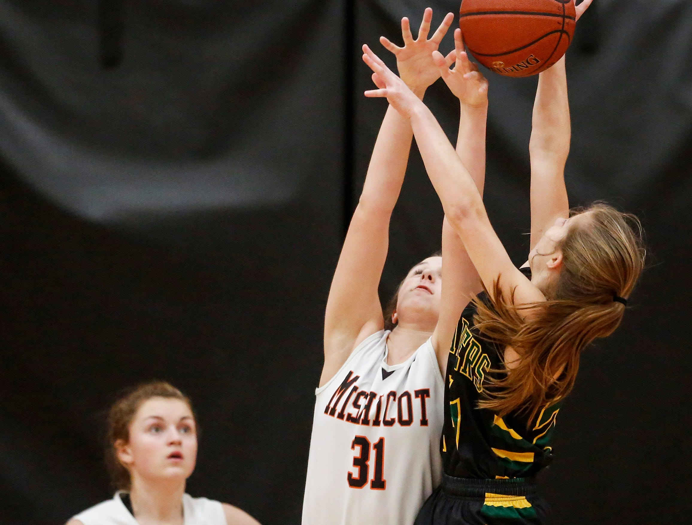 Mishicot's Kylie Schmidt blocks a shot from Sheboygan Area Lutheran's Hailey Schimberg (24) during a Big East Conference matchup at Mishicot High School Friday, January 11, 2019, in Mishicot, Wis. Joshua Clark/USA TODAY NETWORK-Wisconsin