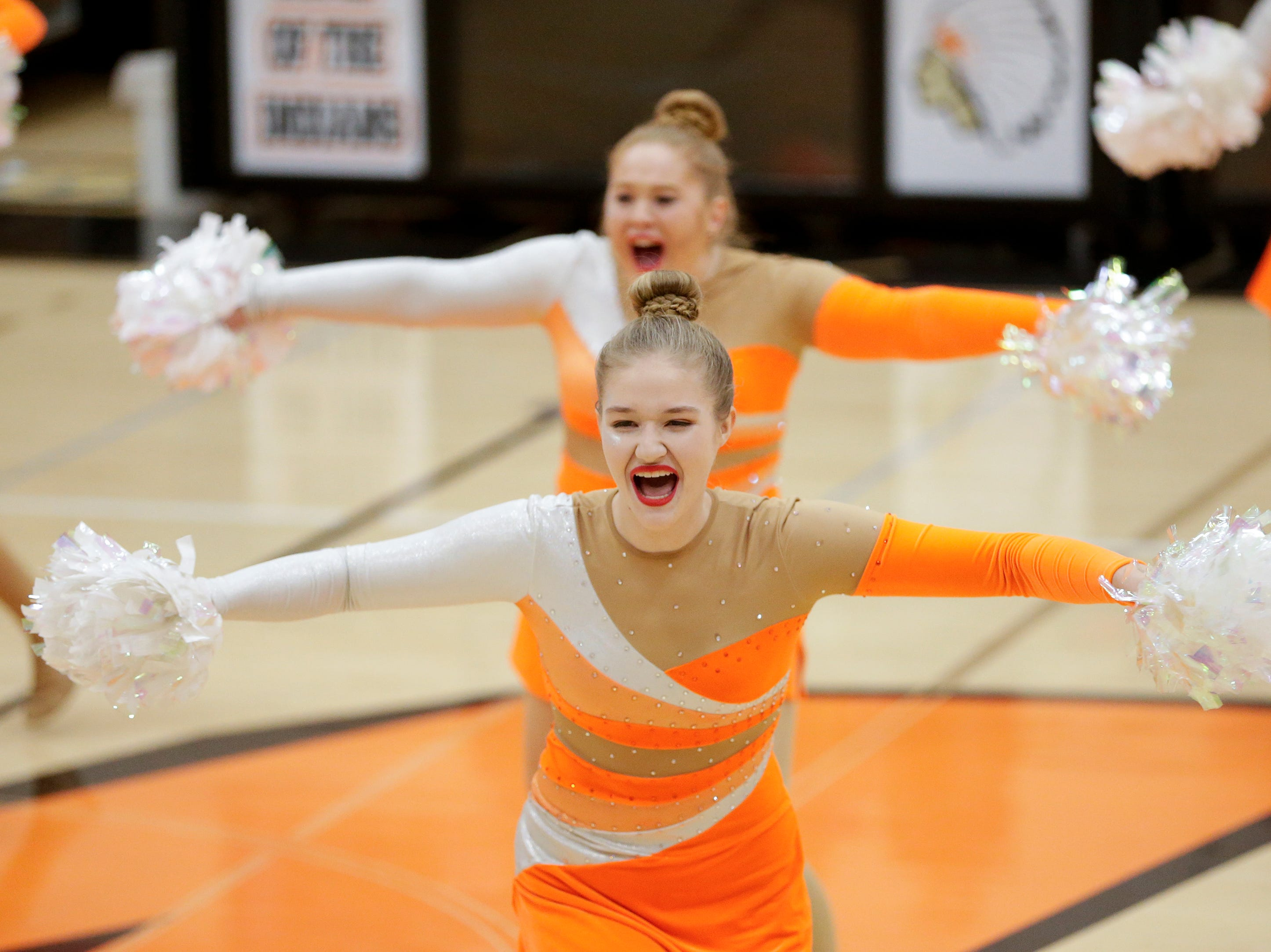 Mishicot's dance team performs at halftime during a Big East Conference girls basketball matchup against Sheboygan Area Lutheran at Mishicot High School Friday, January 11, 2019, in Mishicot, Wis. Joshua Clark/USA TODAY NETWORK-Wisconsin