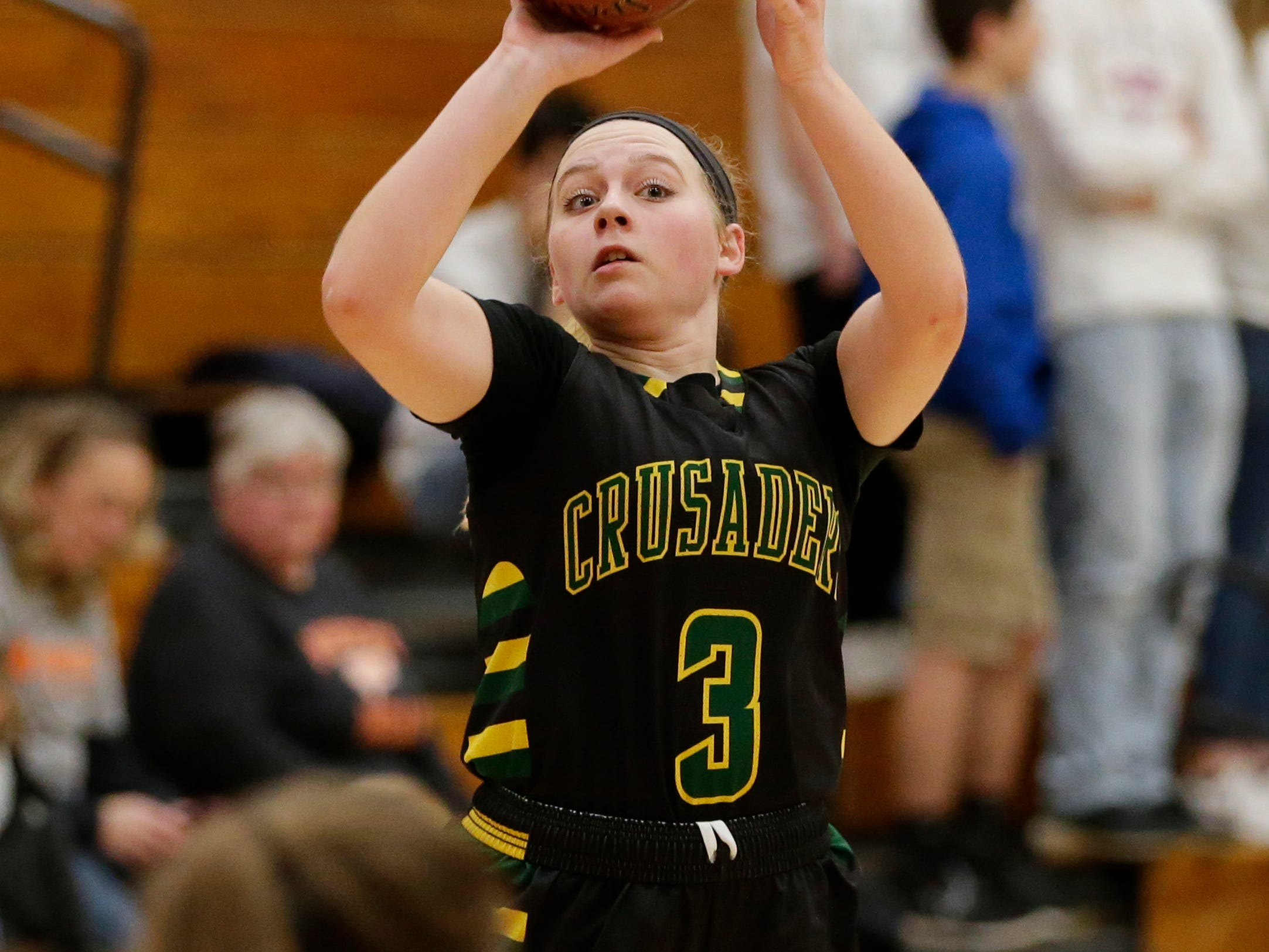 Sheboygan Area Lutheran's Josie Pingel shoots against Mishicot during a Big East Conference matchup at Mishicot High School Friday, January 11, 2019, in Mishicot, Wis. Joshua Clark/USA TODAY NETWORK-Wisconsin