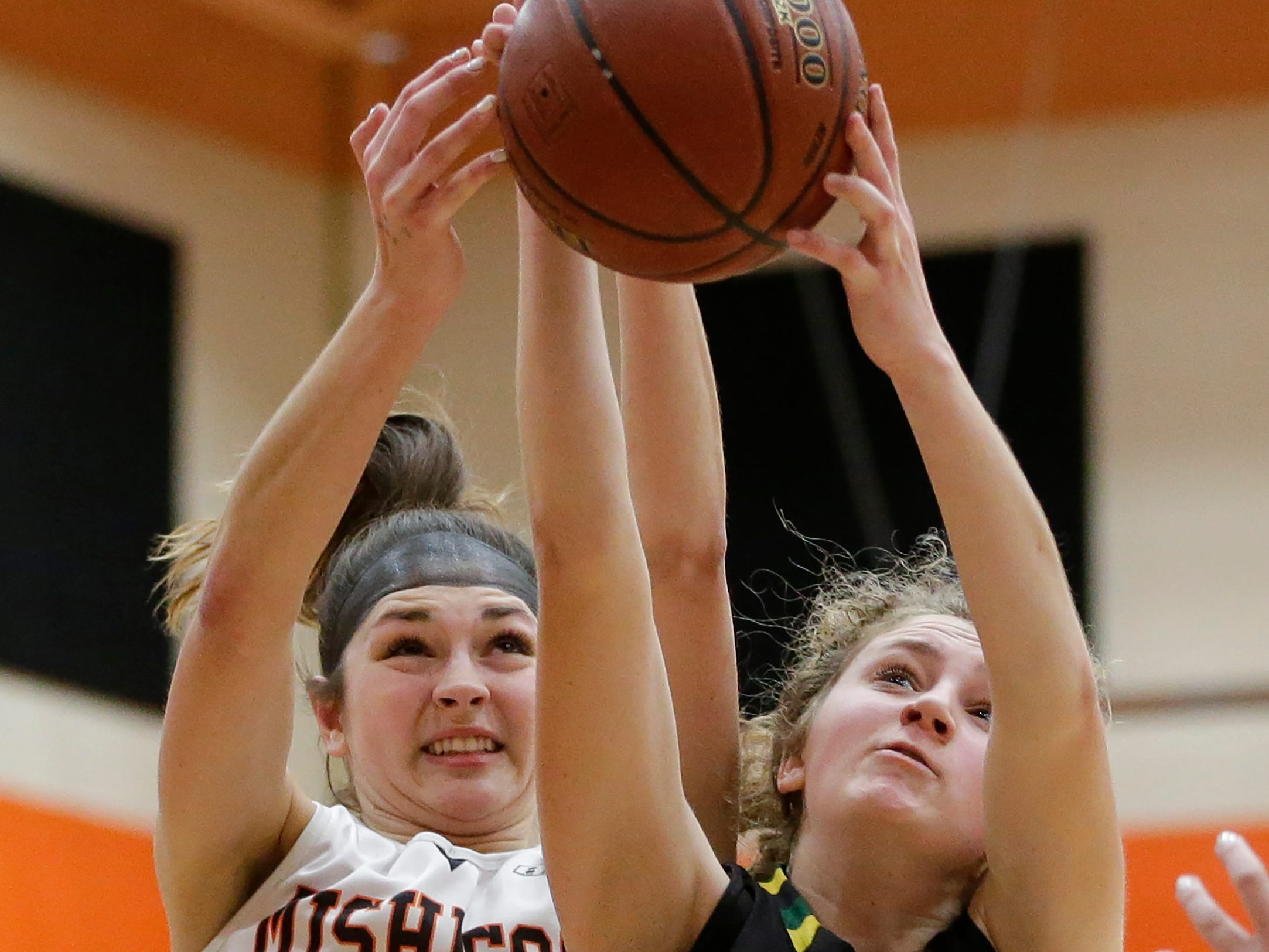 Sheboygan Area Lutheran's Emma Egbert (15) battles Mishicot's Desiree Kleiman for a rebound during a Big East Conference matchup at Mishicot High School Friday, January 11, 2019, in Mishicot, Wis. Joshua Clark/USA TODAY NETWORK-Wisconsin