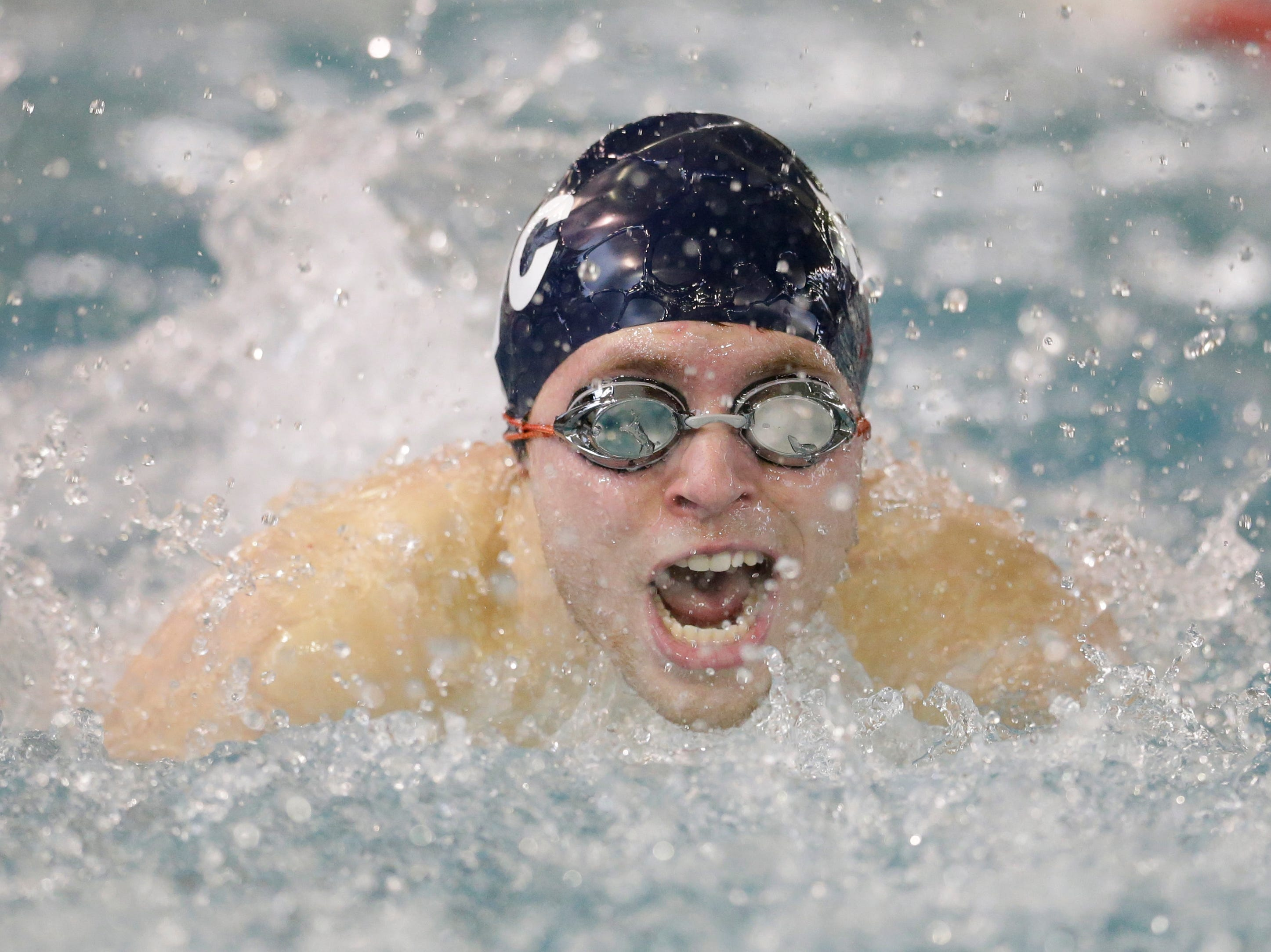 Brillion/Chilton/Valders' Jack Feider swims in the 100-yard butterfly during the Lincoln Boys Swim Invitational at Manitowoc Lincoln High School Saturday, January 12, 2019, in Manitowoc, Wis. Joshua Clark/USA TODAY NETWORK-Wisconsin