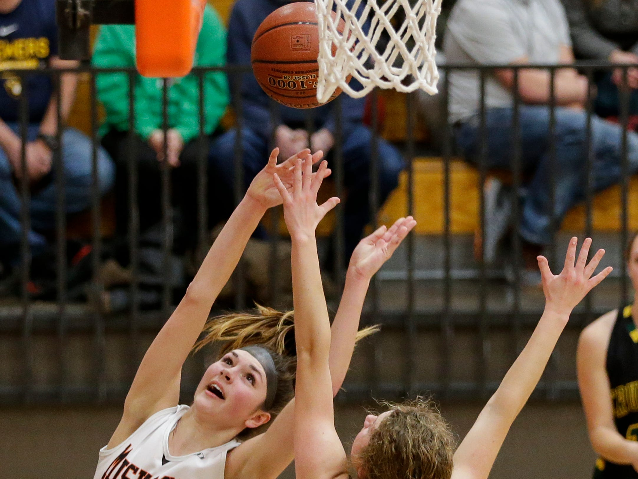 Mishicot's Desiree Kleiman drives to the hoop for a layup against Sheboygan Area Lutheran during a Big East Conference matchup at Mishicot High School Friday, January 11, 2019, in Mishicot, Wis. Joshua Clark/USA TODAY NETWORK-Wisconsin