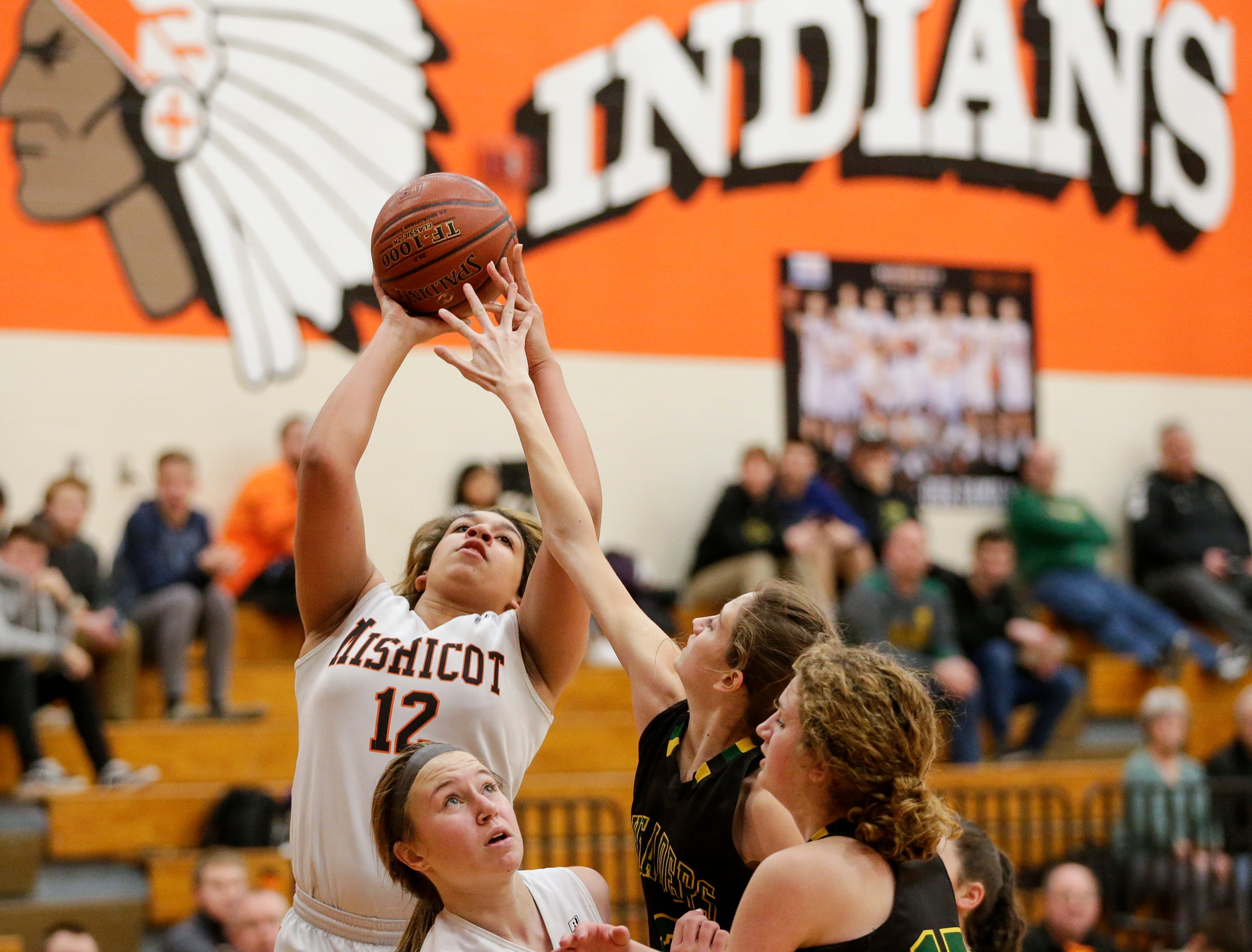 Mishicot's Valentina Stueck (12) looks to shoot against Sheboygan Area Lutheran during a Big East Conference matchup at Mishicot High School Friday, January 11, 2019, in Mishicot, Wis. Joshua Clark/USA TODAY NETWORK-Wisconsin