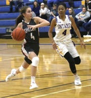 Shelby's Sophia Niese goes for the basket while playing at Ontario on Saturday.