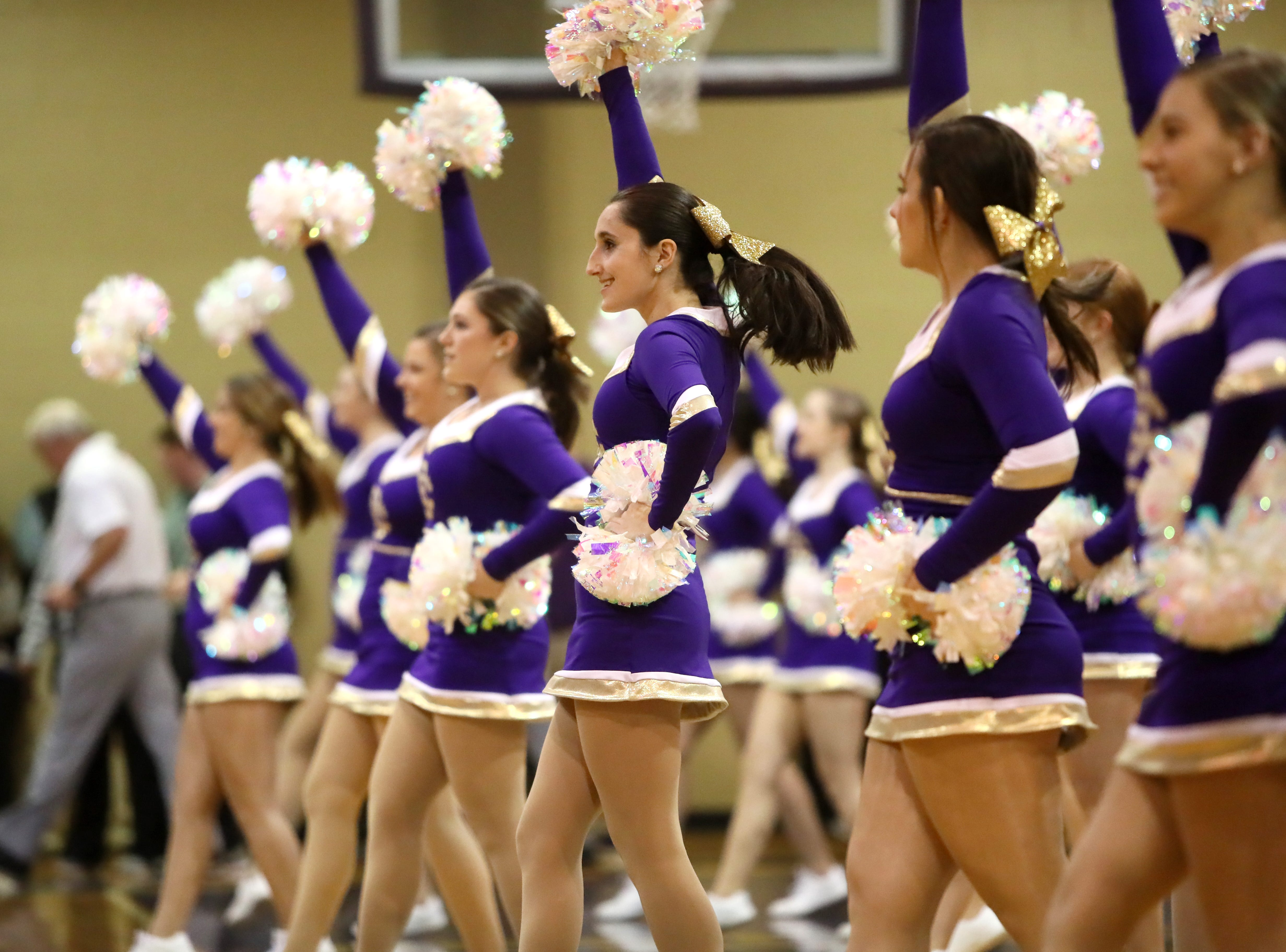 Christian Brothers' cheerleaders perform during halftime during their game against Briarcrest at Christian Brothers High School on Friday, Jan. 11, 2019.
