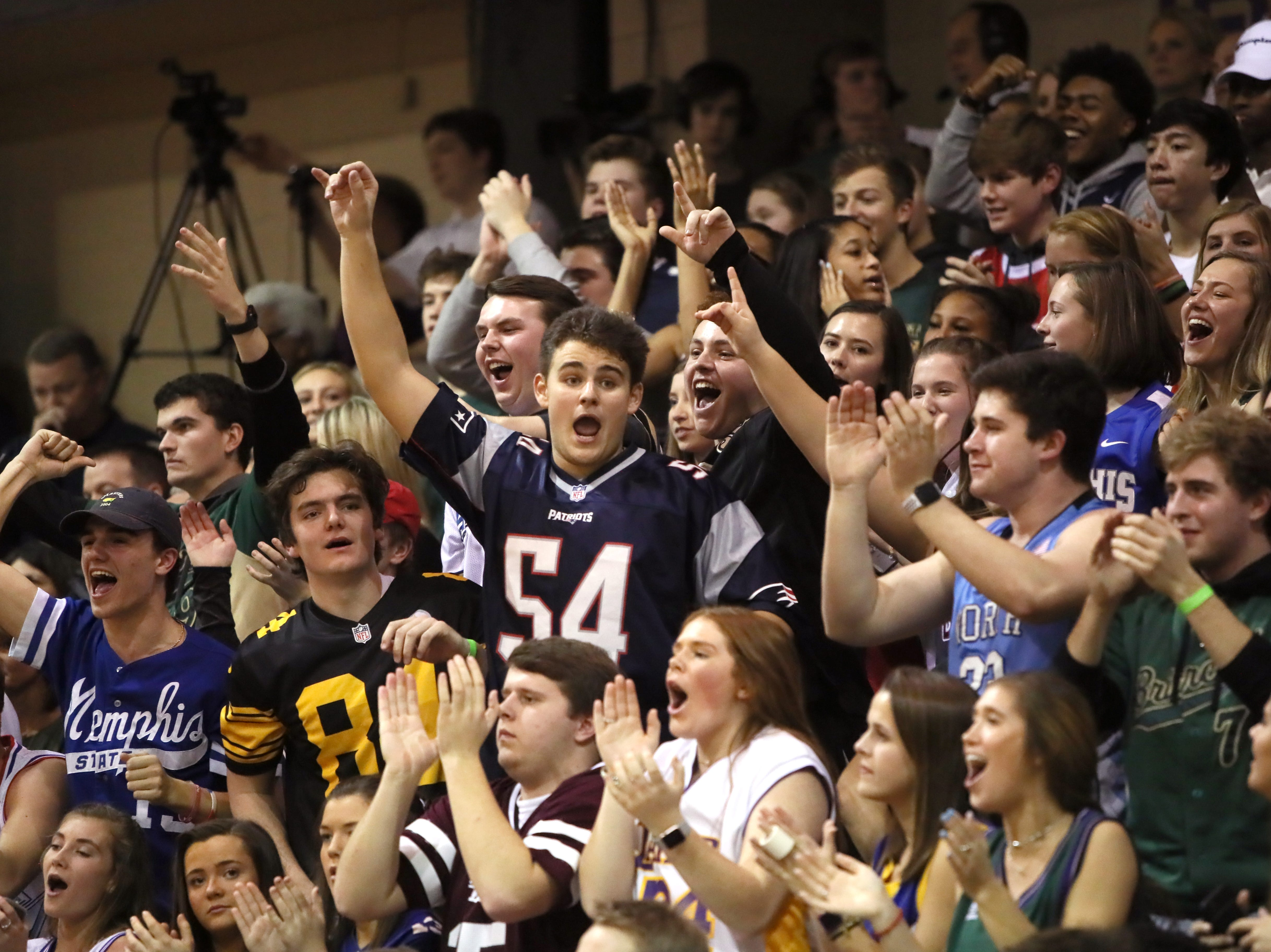 Briarcrest's students cheer on their team at Christian Brothers High School on Friday, Jan. 11, 2019.