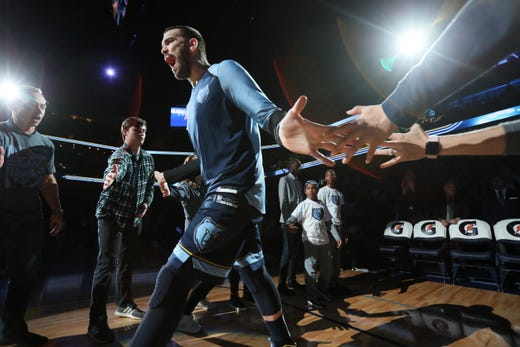 Memphis Grizzlies center Marc Gasol is introduced before their game against the Cleveland Cavaliers on Wednesday, Dec. 26, 2018.