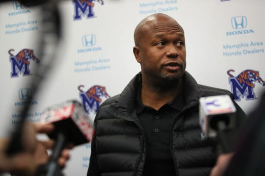 Tigers wide receivers coach John Simon talks to reporters on Jan. 12. Simon and Mike Norvell were college teammates at Louisiana Tech.