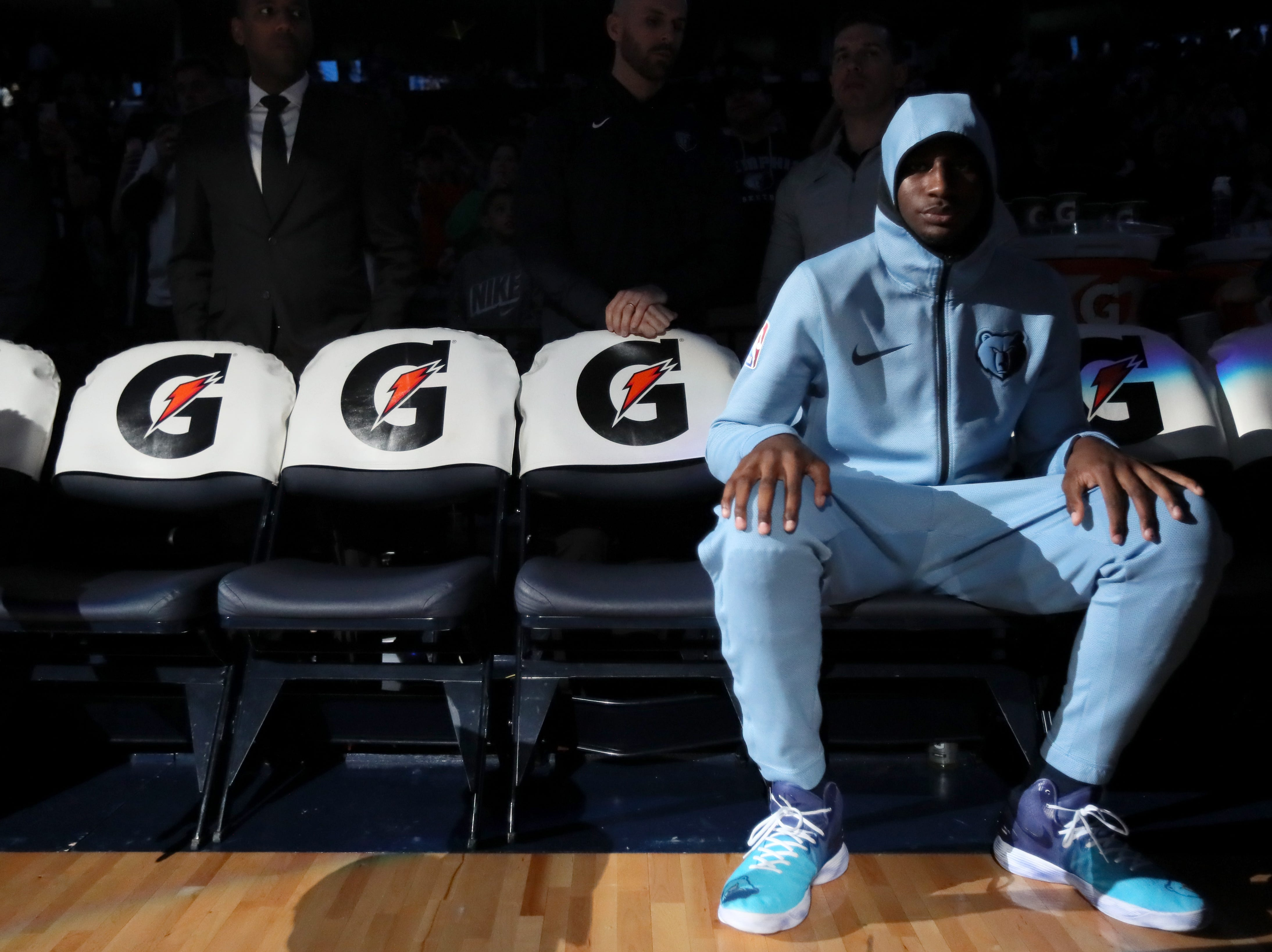 Memphis Grizzlies forward Jaren Jackson Jr. waits to be introduced before their game against the Cleveland Cavaliers on Wednesday, Dec. 26, 2018.