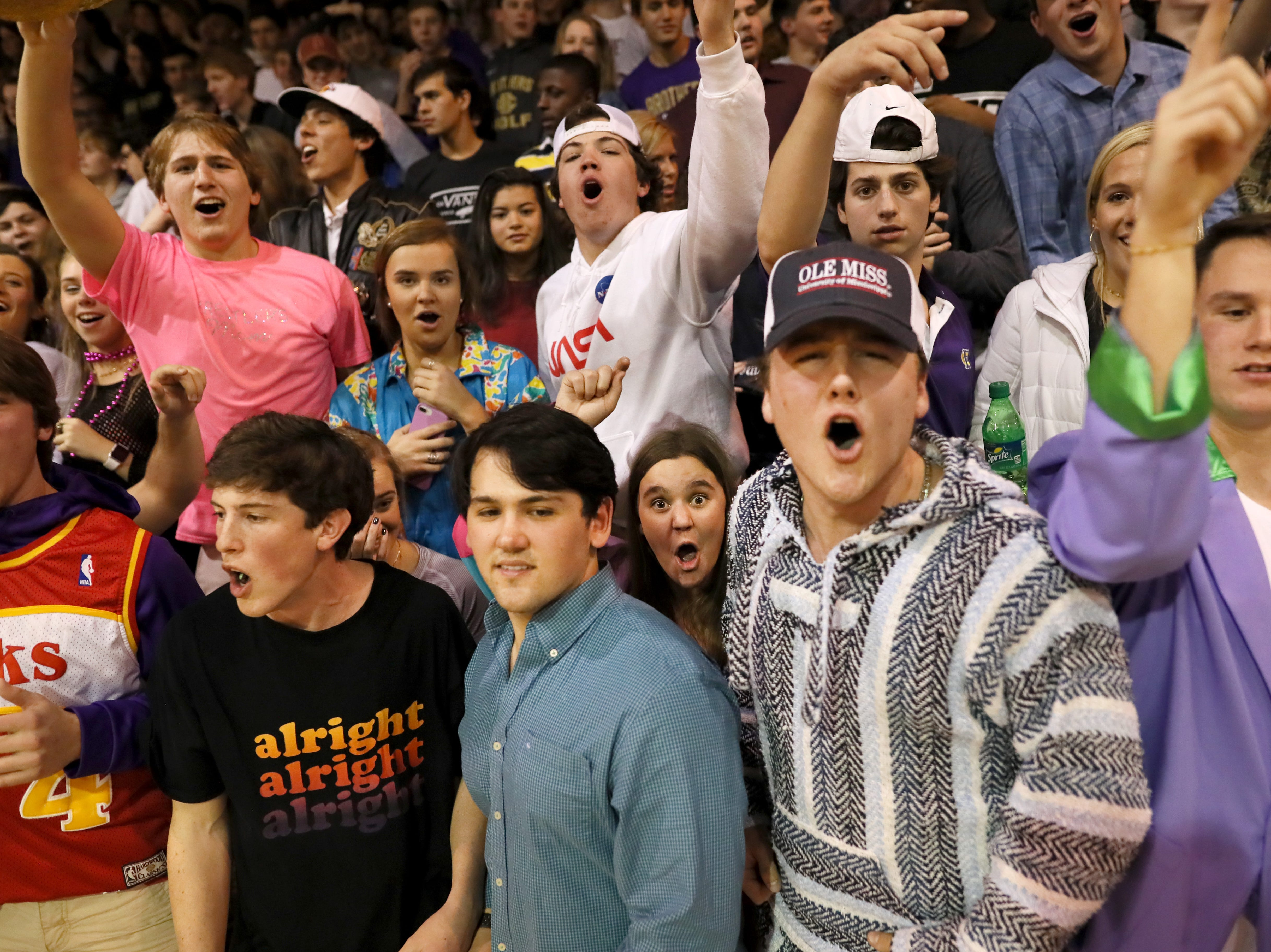 Christian Brothers' students cheer on their team against Briarcrest during their game at Christian Brothers High School on Friday, Jan. 11, 2019.