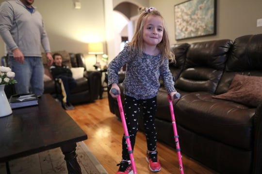 Ava Reed, 6, at the family home on Friday, Jan. 11, 2019. Ava lives with Charcot-Marie-Tooth Disease, which affects peripheral nerves outside the brain that send signals to the body and can lead to weakened muscles and difficulty walking.