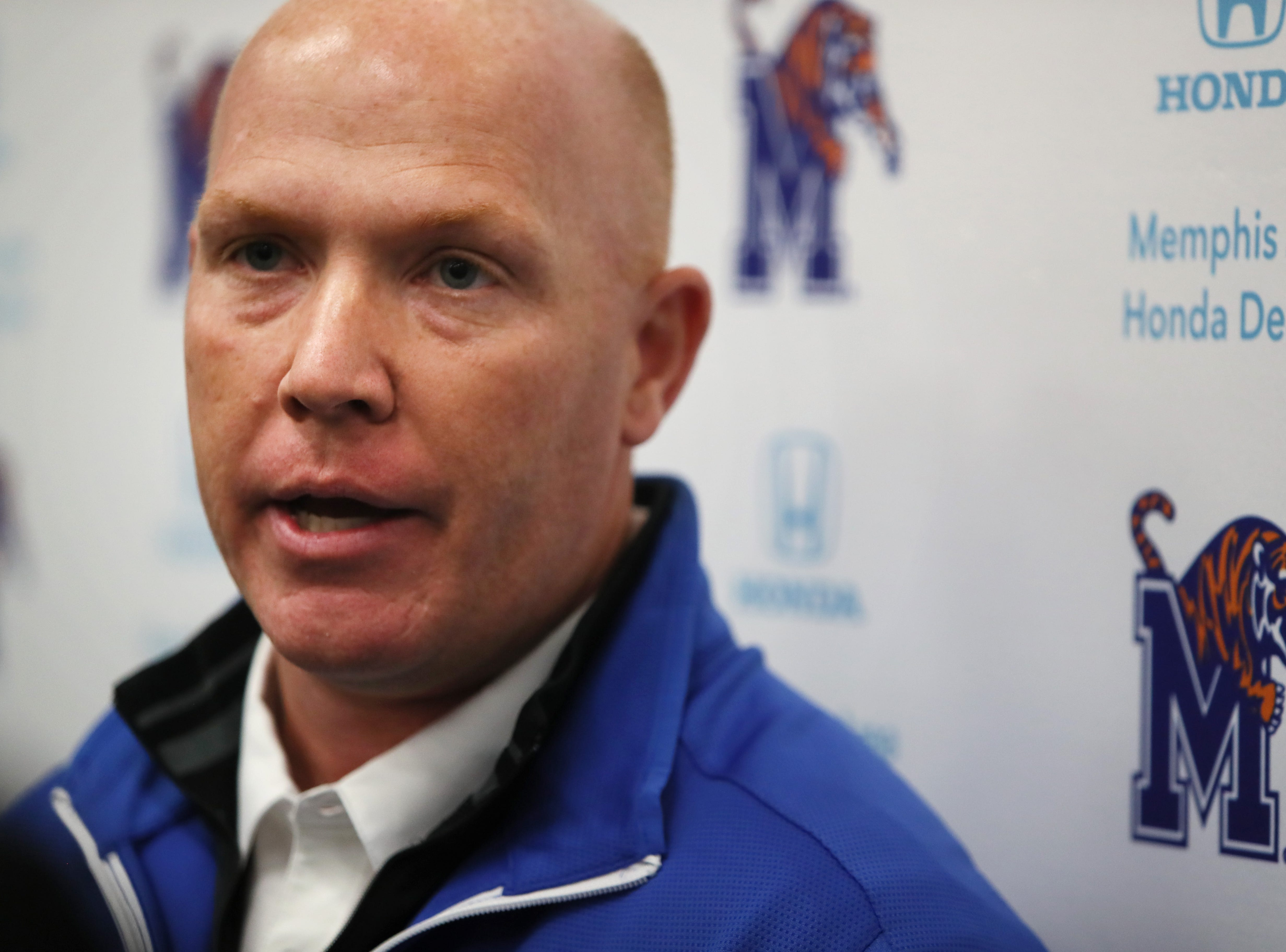 Memphis Tigers Defensive Coordinator Adam Fuller talks to reporters during a press conference to introduce new coaching staff members on the university's campus Saturday, Jan. 12, 2019.