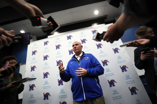 Memphis defensive coordinator Adam Fuller talks to reporters on Jan. 12. Fuller joined the Tigers' staff from Marshall.