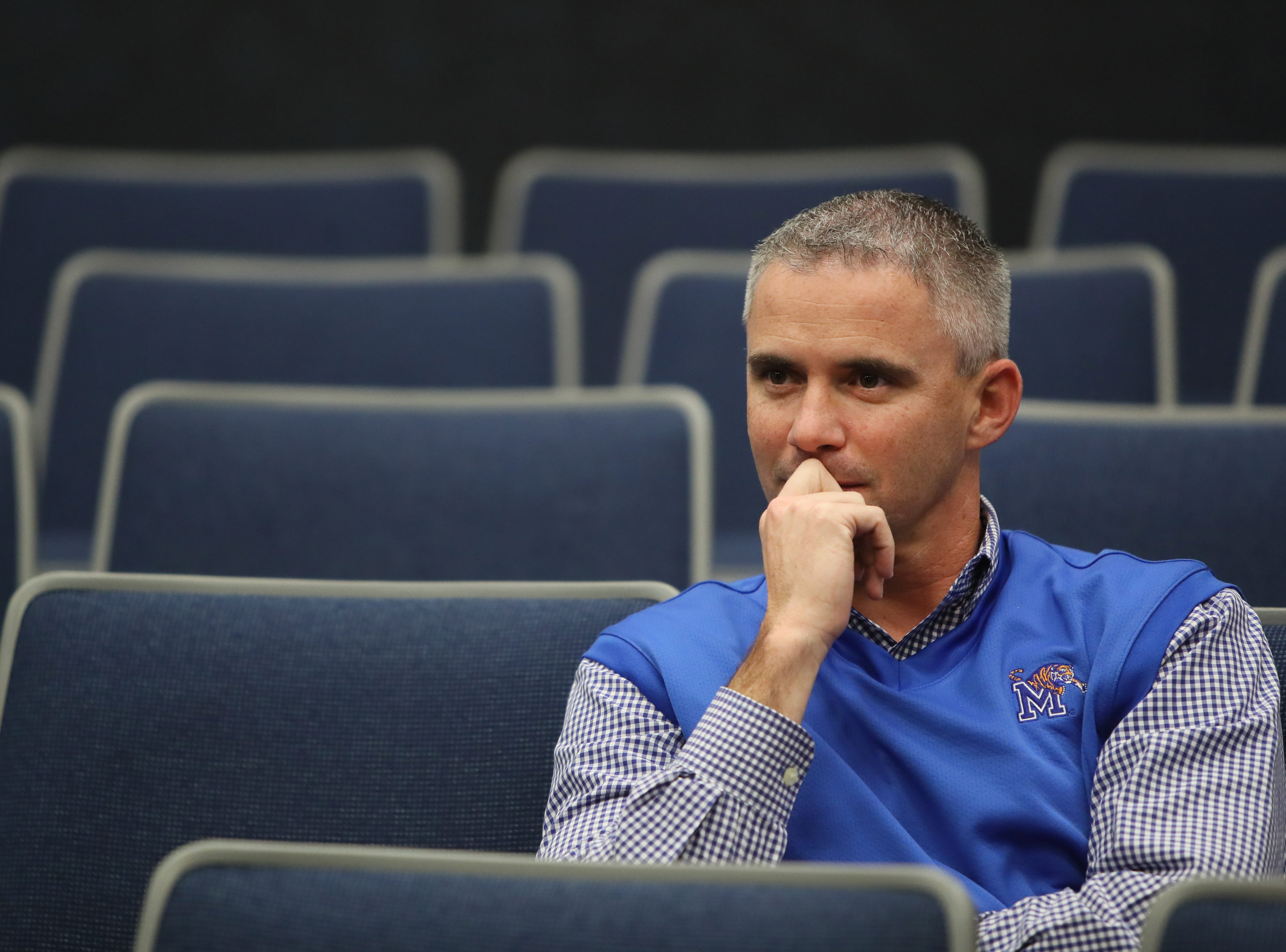 Memphis Tigers Head Coach Mike Norvell listens to questions during a press conference to introduce new coaching staff members on the university's campus Saturday, Jan. 12, 2019.