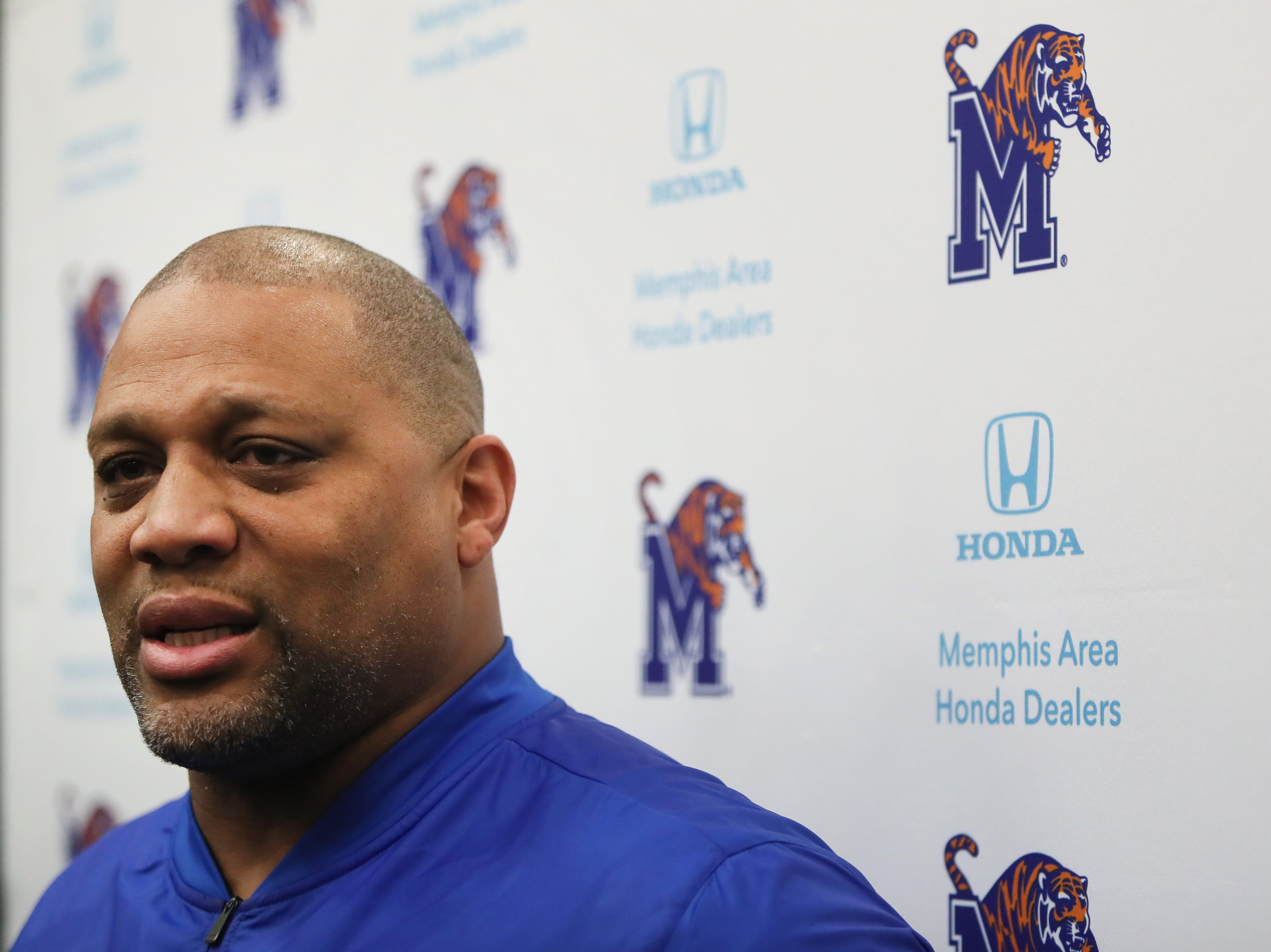 Memphis Tigers Defensive Line Coach Deke Adams talks to reporters during a press conference to introduce new coaching staff members on the university's campus Saturday, Jan. 12, 2019.