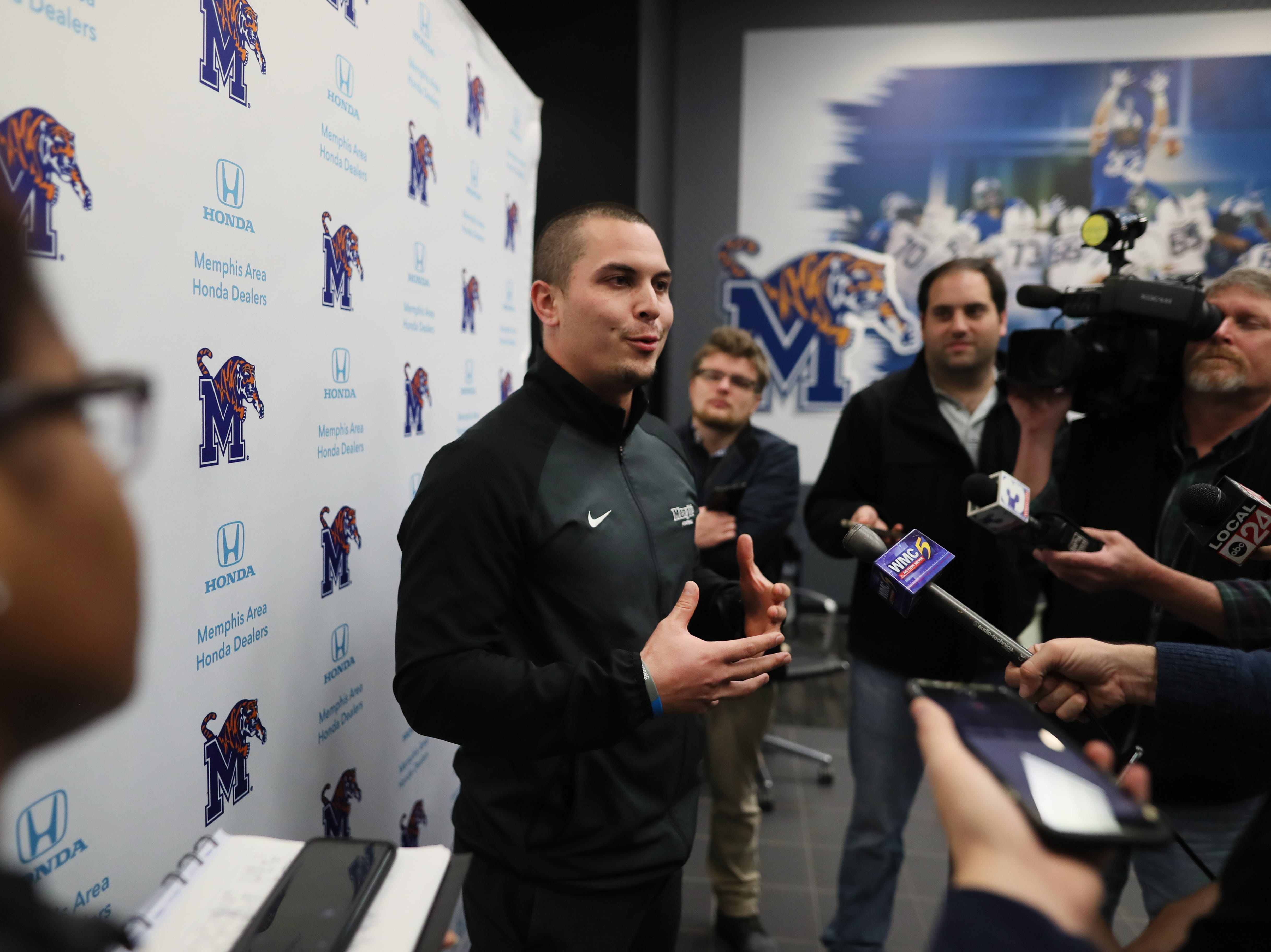 Memphis Tigers Tight Ends Coach Tony Tokarz talks to reporters during a press conference to introduce new coaching staff members on the university's campus Saturday, Jan. 12, 2019.