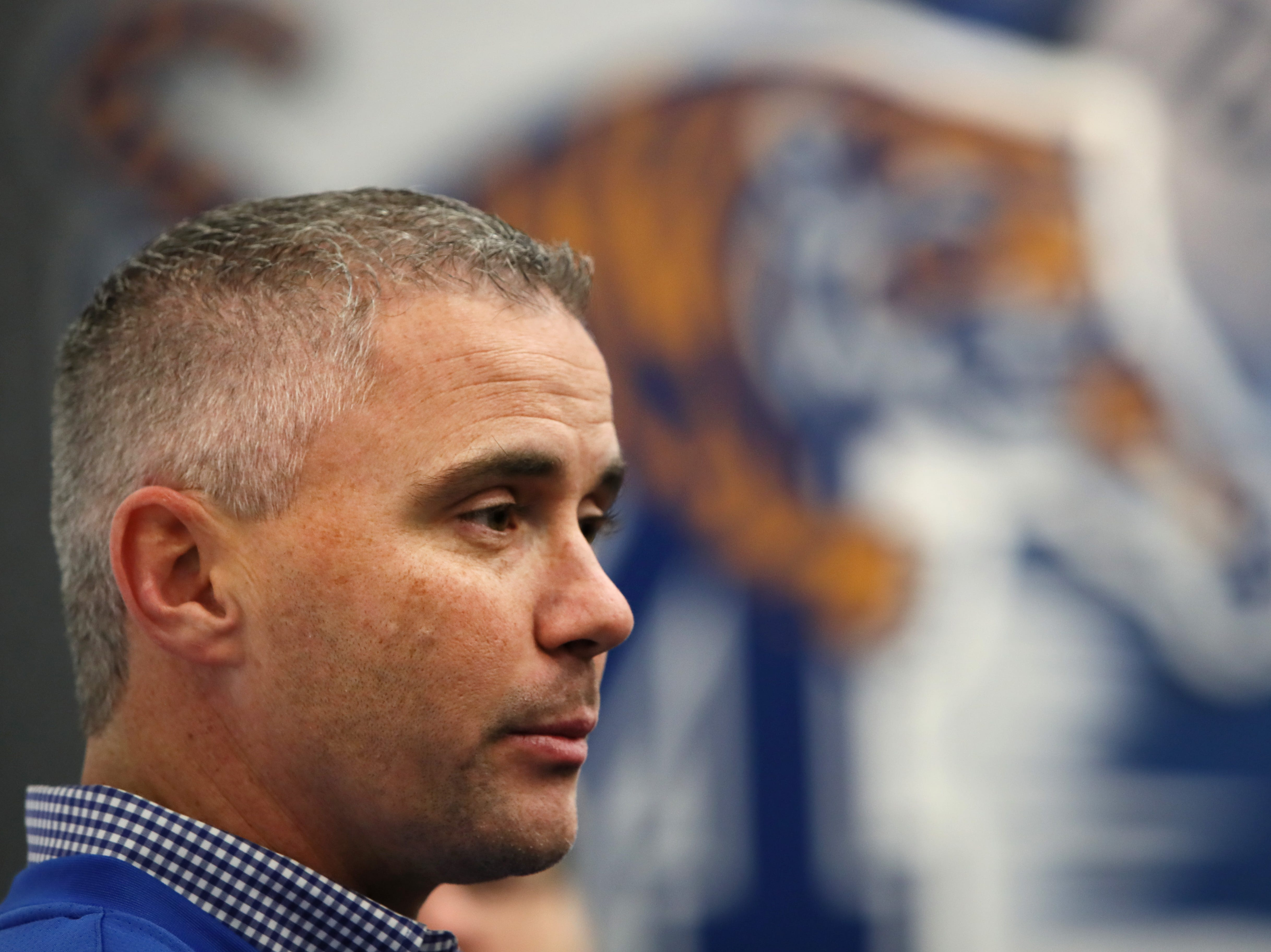 Memphis Tigers Head Coach Mike Norvell talks to reporters during a press conference to introduce new coaching staff members on the university's campus Saturday, Jan. 12, 2019.