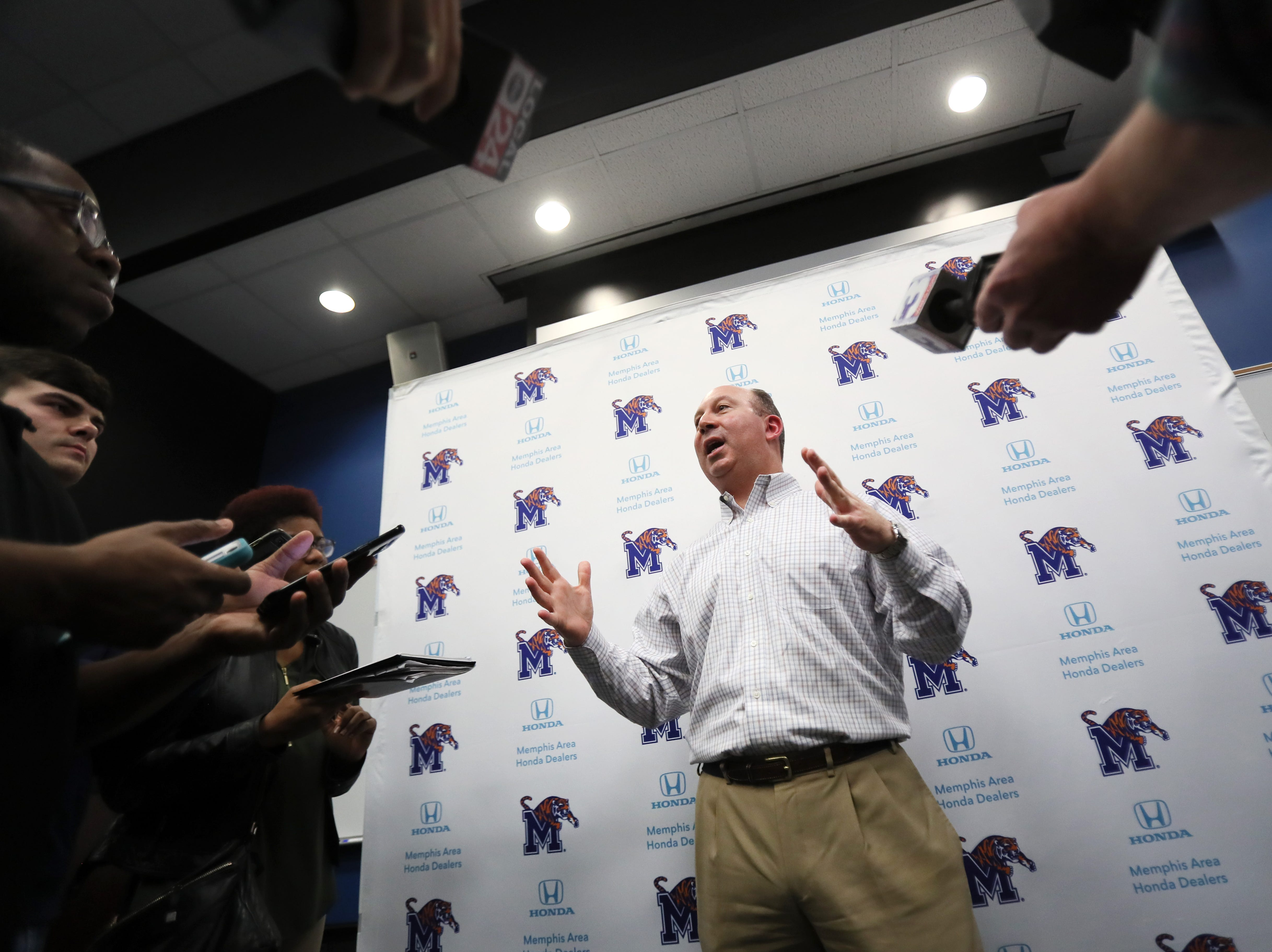 Memphis Tigers Special Teams Coordinator Pete Lembo talks to reporters during a press conference to introduce new coaching staff members on the university's campus Saturday, Jan. 12, 2019.