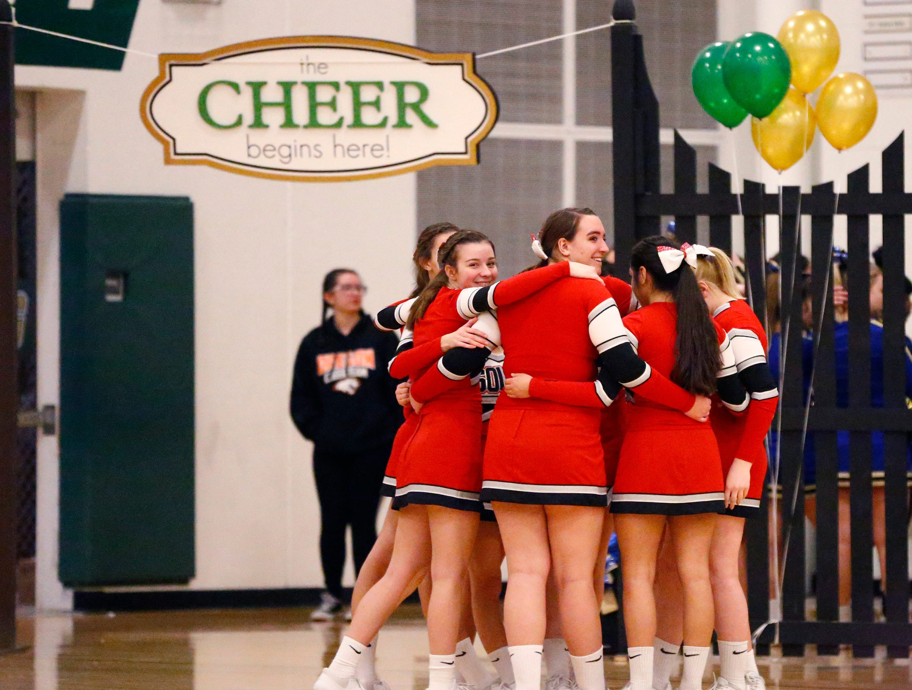 The Waukesha South team readies to take the floor to compete in the varsity division in the Greenfield Xtreme Cheer competition at Greenfield High School on Jan. 12 that drew 56 teams competing in 13 divisions.