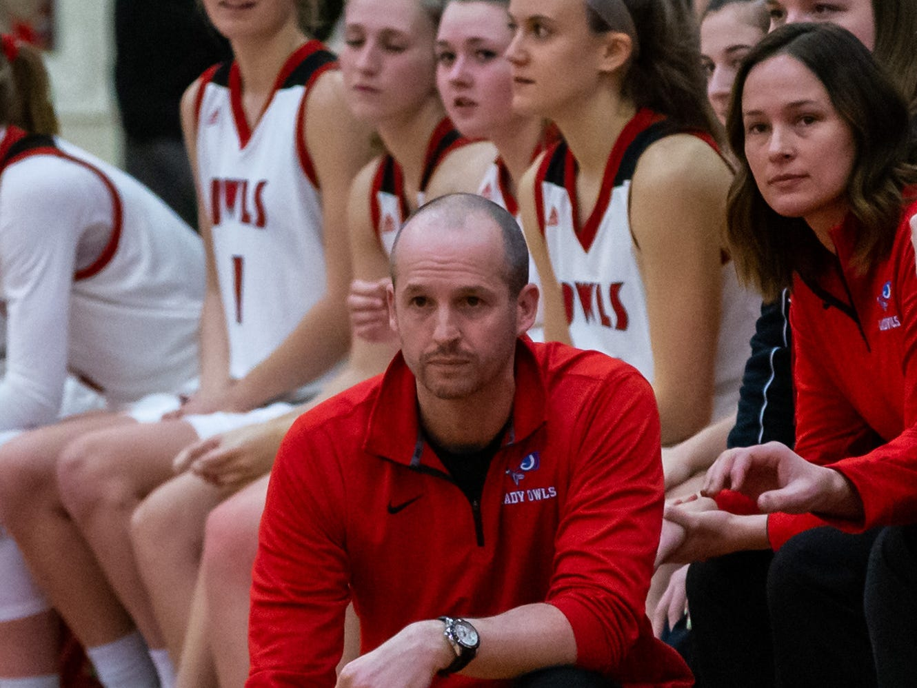 Slinger head coach Tony Dobson follows the action during the game at home against Homestead on Friday, Jan. 11, 2019.