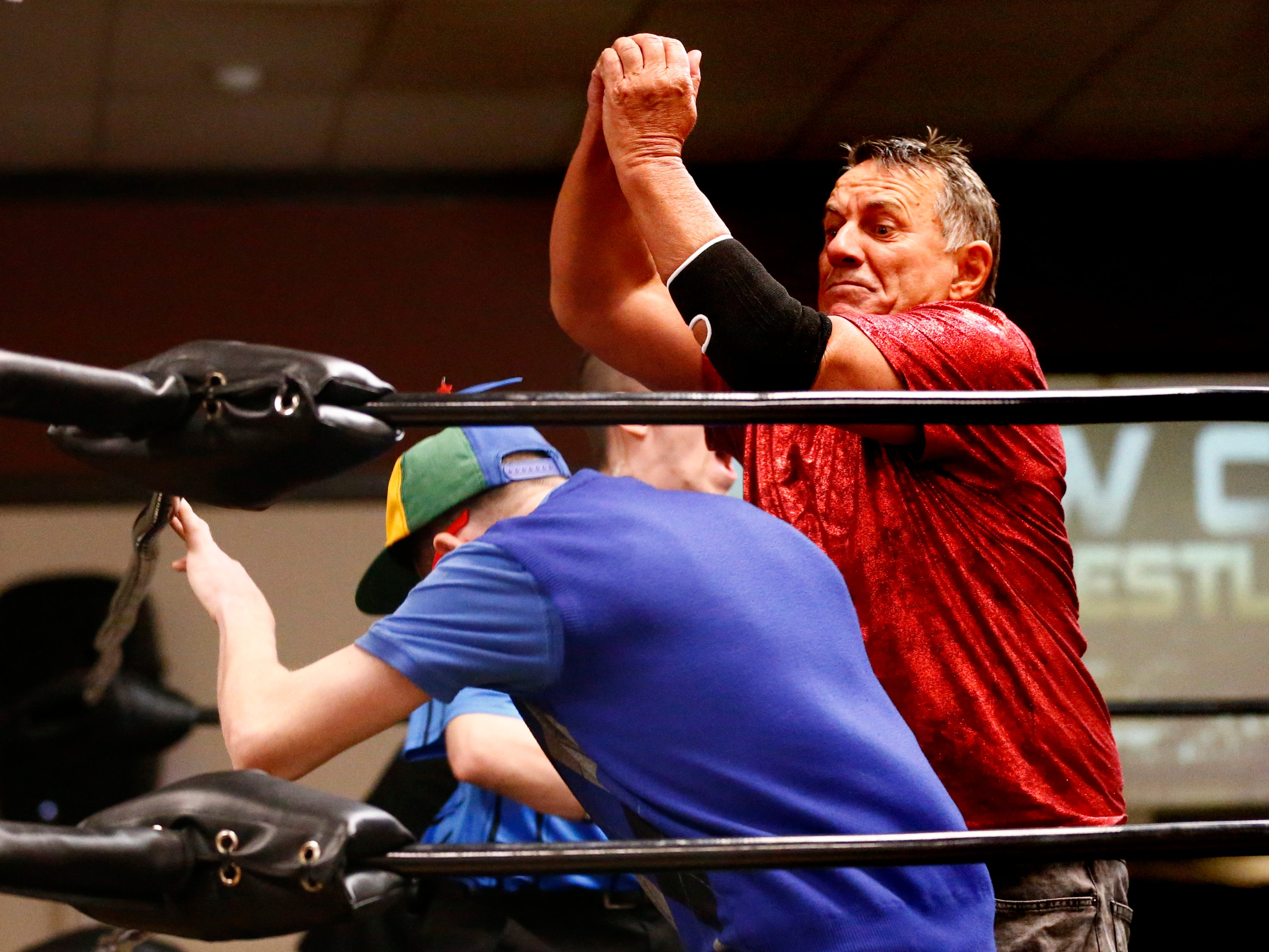 """Angel Armani wastes no time to batter Lou Zhur during the Brew City Wrestling """"Rise To Honor XV- 15 Years of FAN-demonium"""" event at the Waukesha Elks Lodge on Jan. 11 that featured seven matches during the evening."""