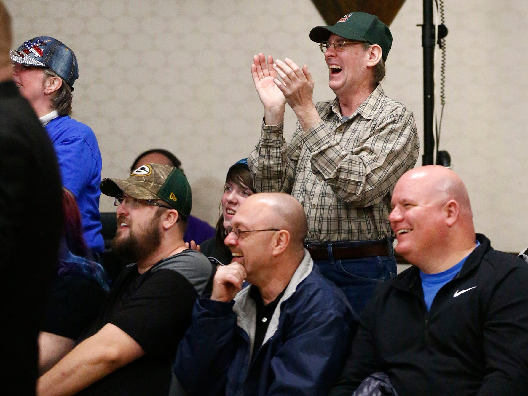"""The crowd reacts to Lou Zhur's win over Angel Armani during the Brew City Wrestling """"Rise To Honor XV- 15 Years of FAN-demonium"""" event at the Waukesha Elks Lodge on Jan. 11 that featured seven matches during the evening."""