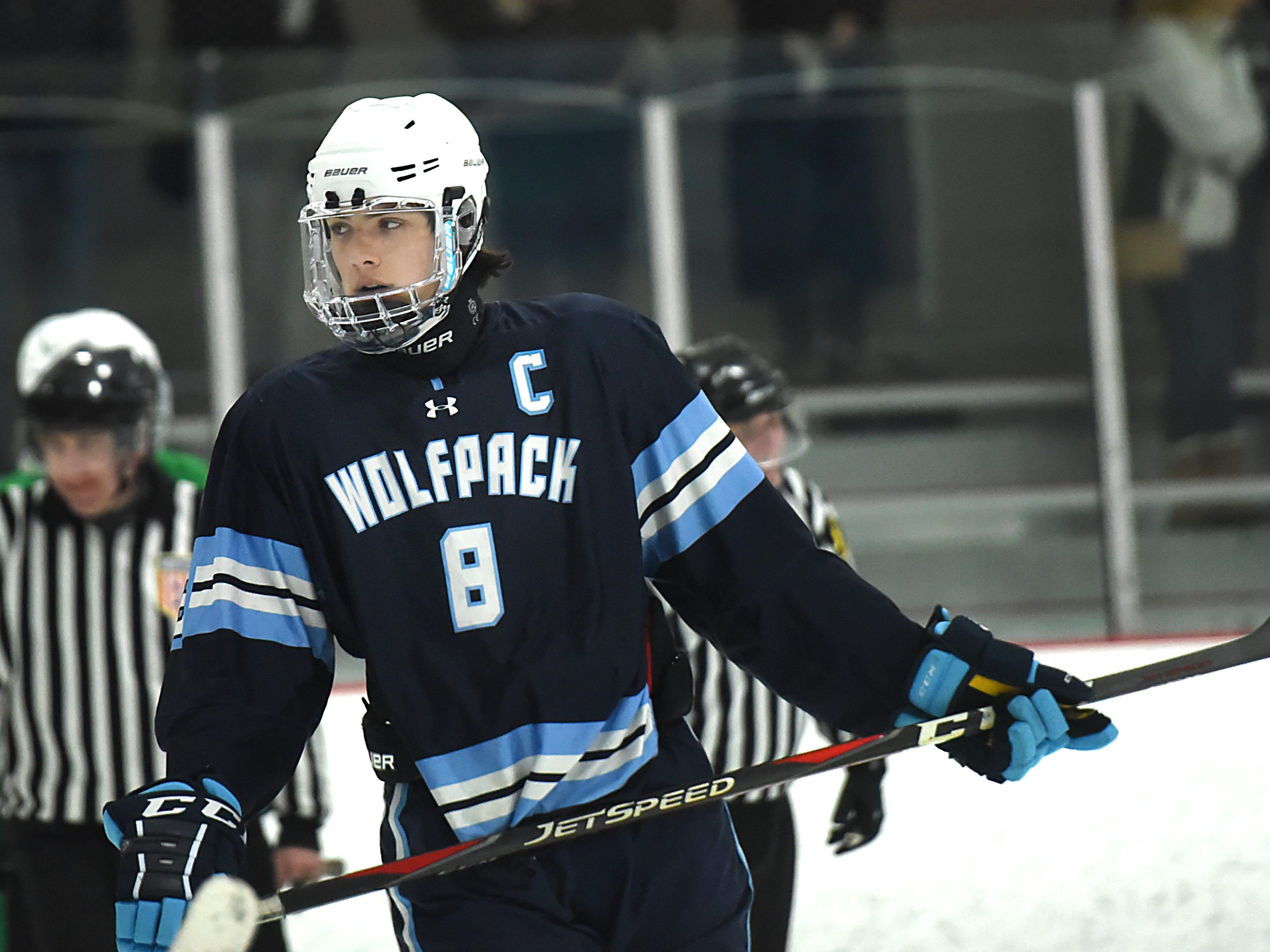 Kinnelon vs. West Morris hockey game at Skylands Ice World in Stockholm on Friday January 11, 2019. WM#8 Zack Mosser.