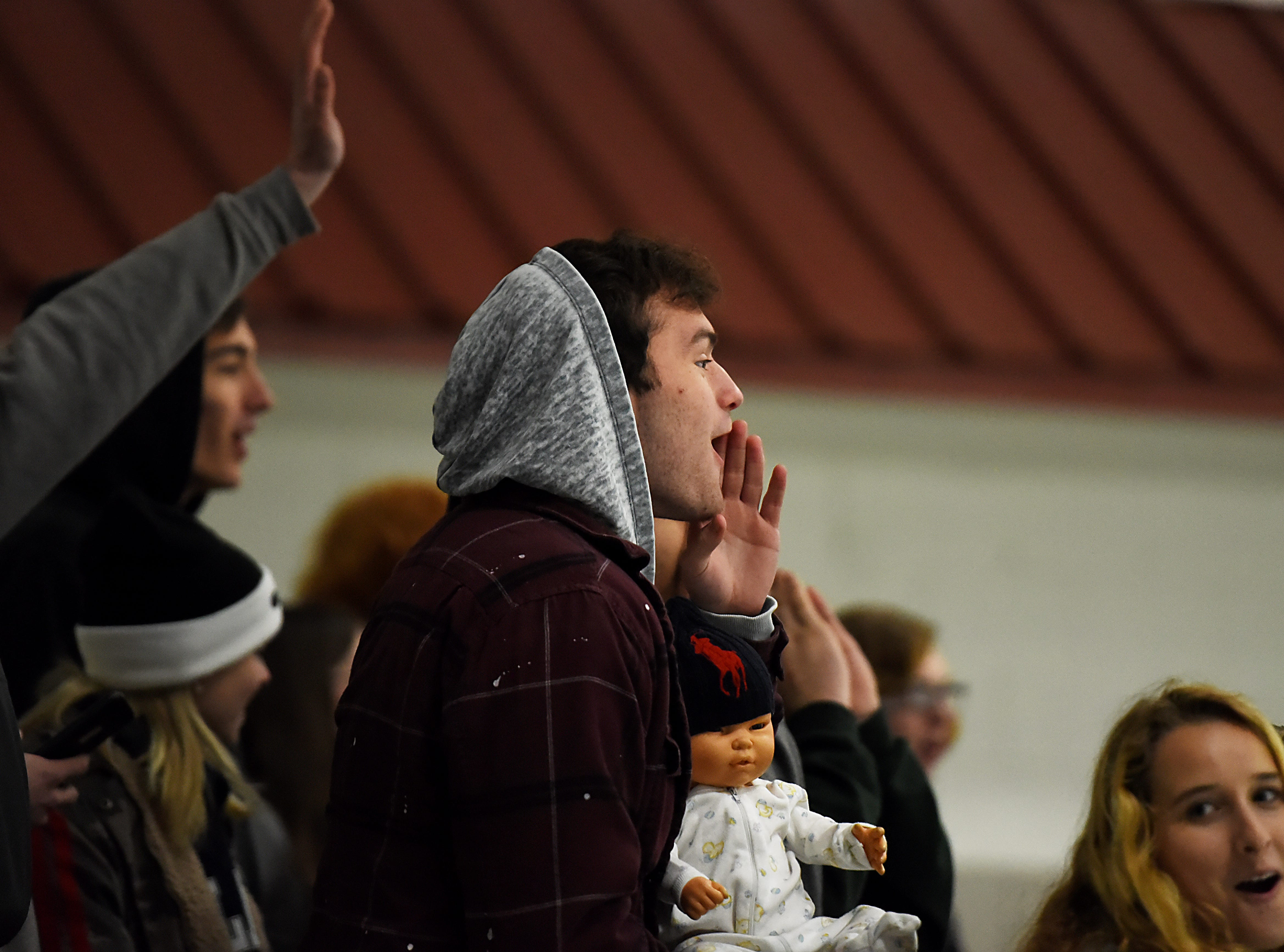 Kinnelon vs. West Morris hockey game at Skylands Ice World in Stockholm on Friday January 11, 2019. The crowd cheers after Kinnelon scores.