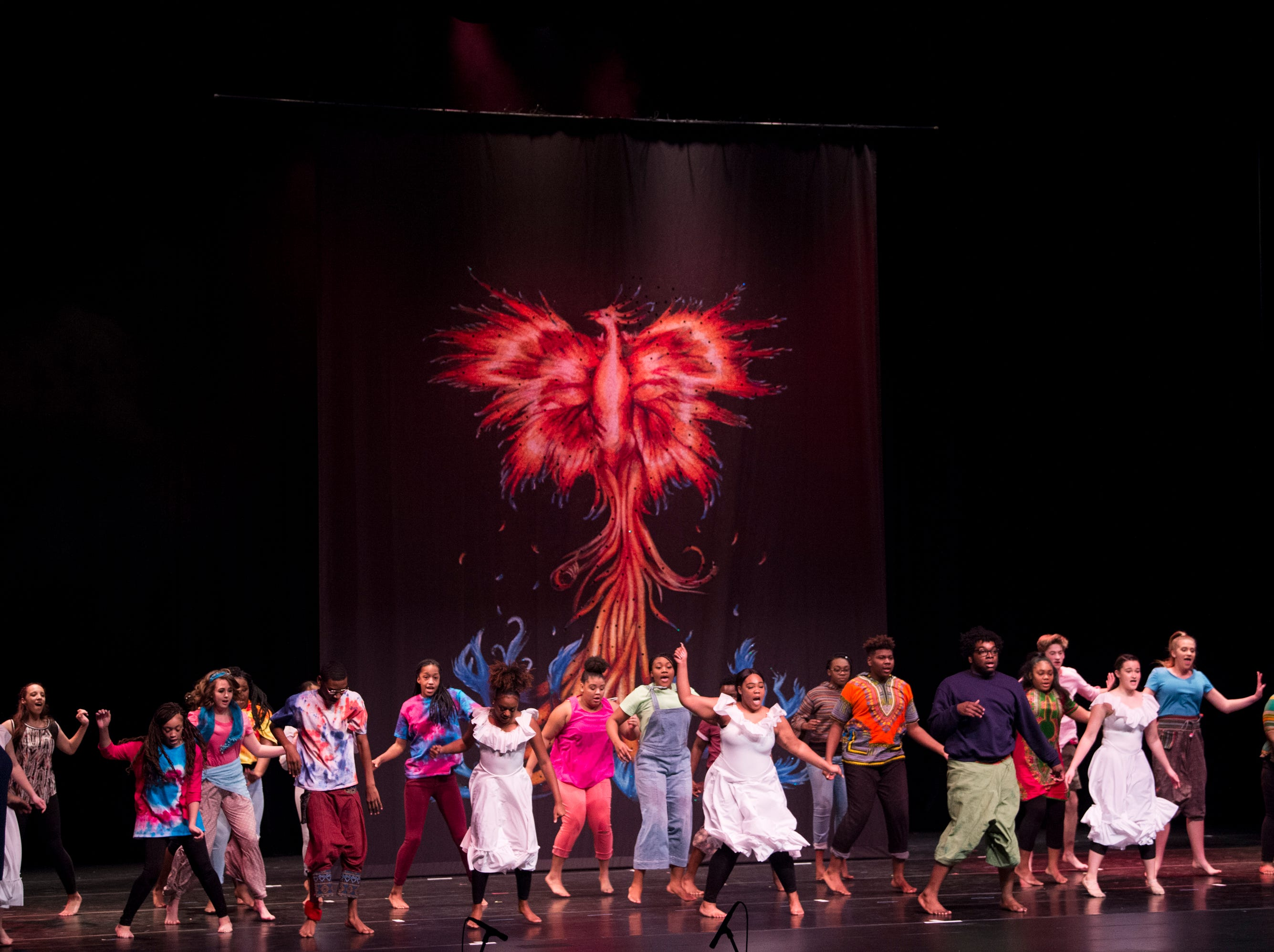 Students sing and dance during the BTW Showcase: Rise at the Montgomery Performing Arts Center in Montgomery, Ala., on Friday, Jan. 11, 2019.