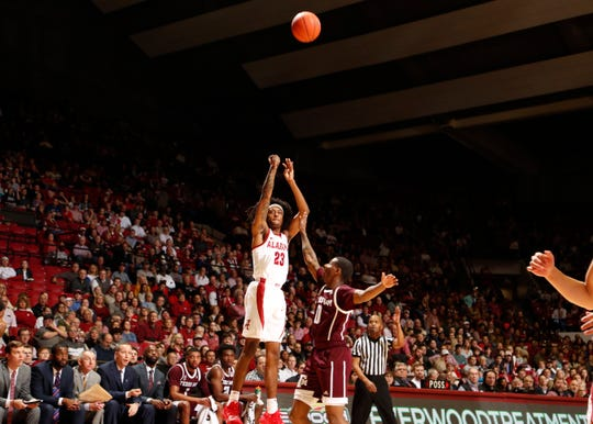 Alabama sophomore wing John Petty shoots a 3-pointer in Saturday's 81-80 loss to Texas A&M on Jan. 12, 2019 from Coleman Coliseum in Tuscaloosa, Ala. (Photo courtesy of Robert Sutton/Alabama athletics)