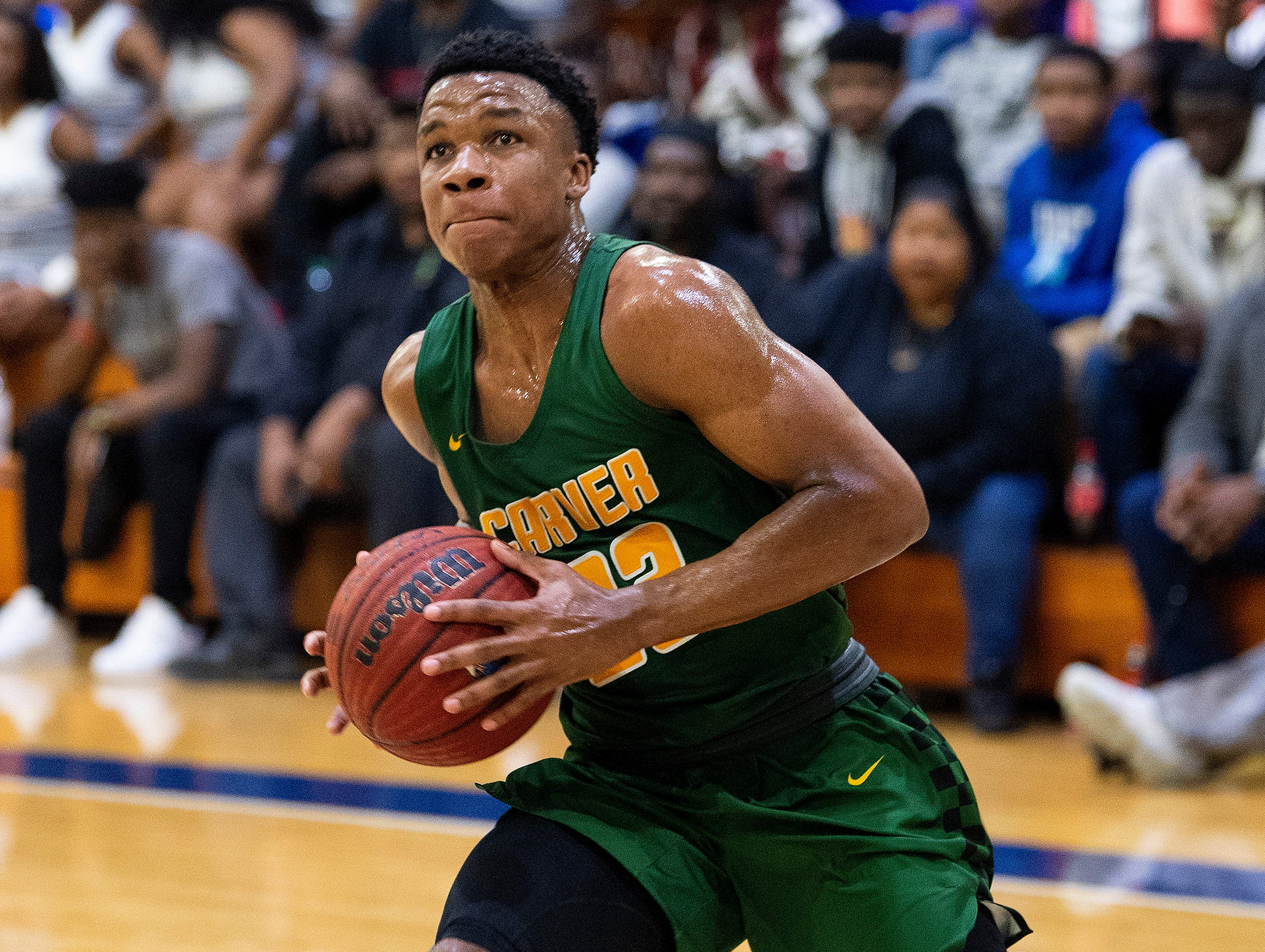 Carver's Michael Murry (23) against Lanier at the Lanier campus in Montgomery, Ala., on Friday January 11, 2019.