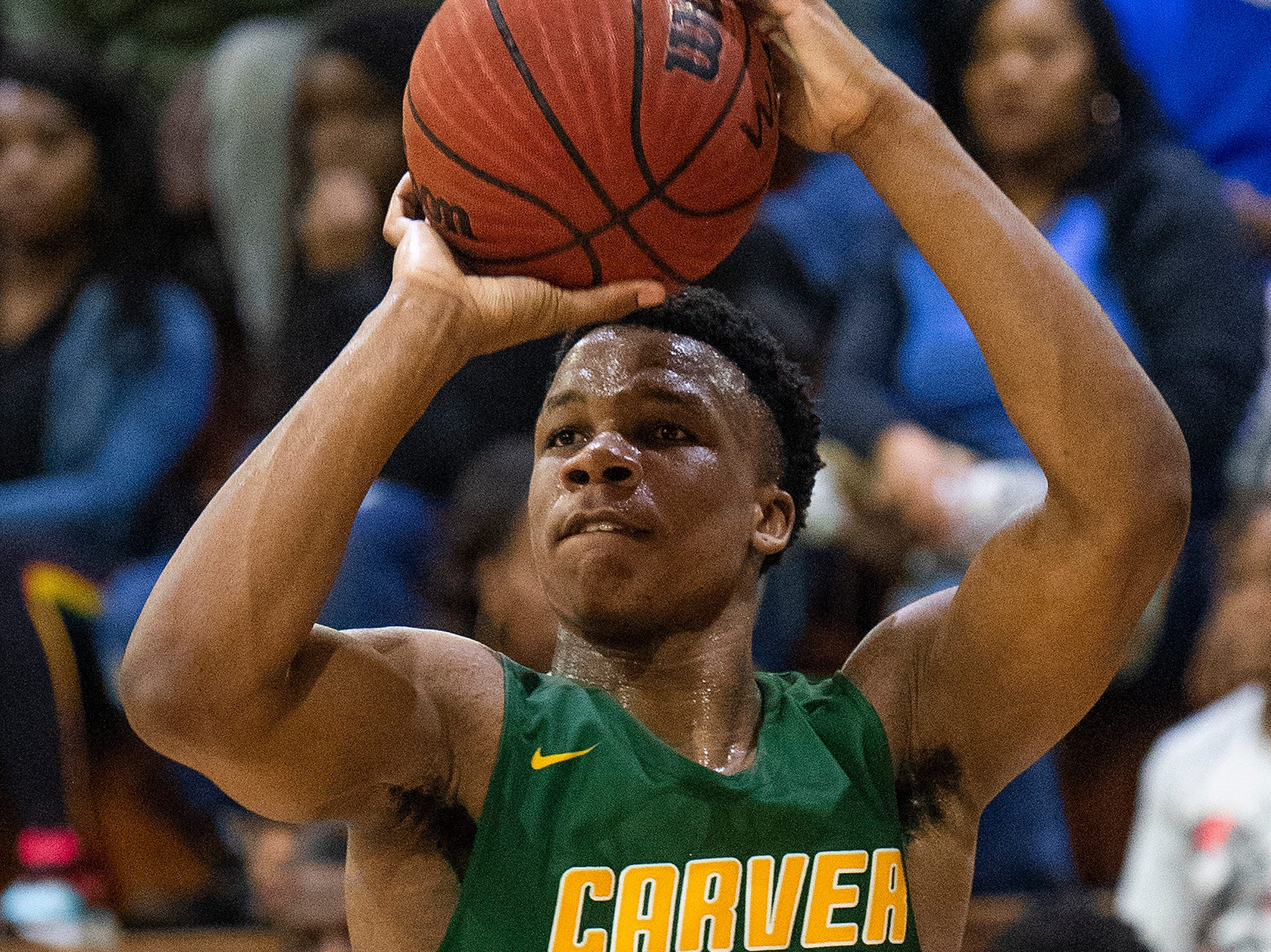 Carver's Michael Murry (23) against Carver at the Lanier campus in Montgomery, Ala., on Friday January 11, 2019.