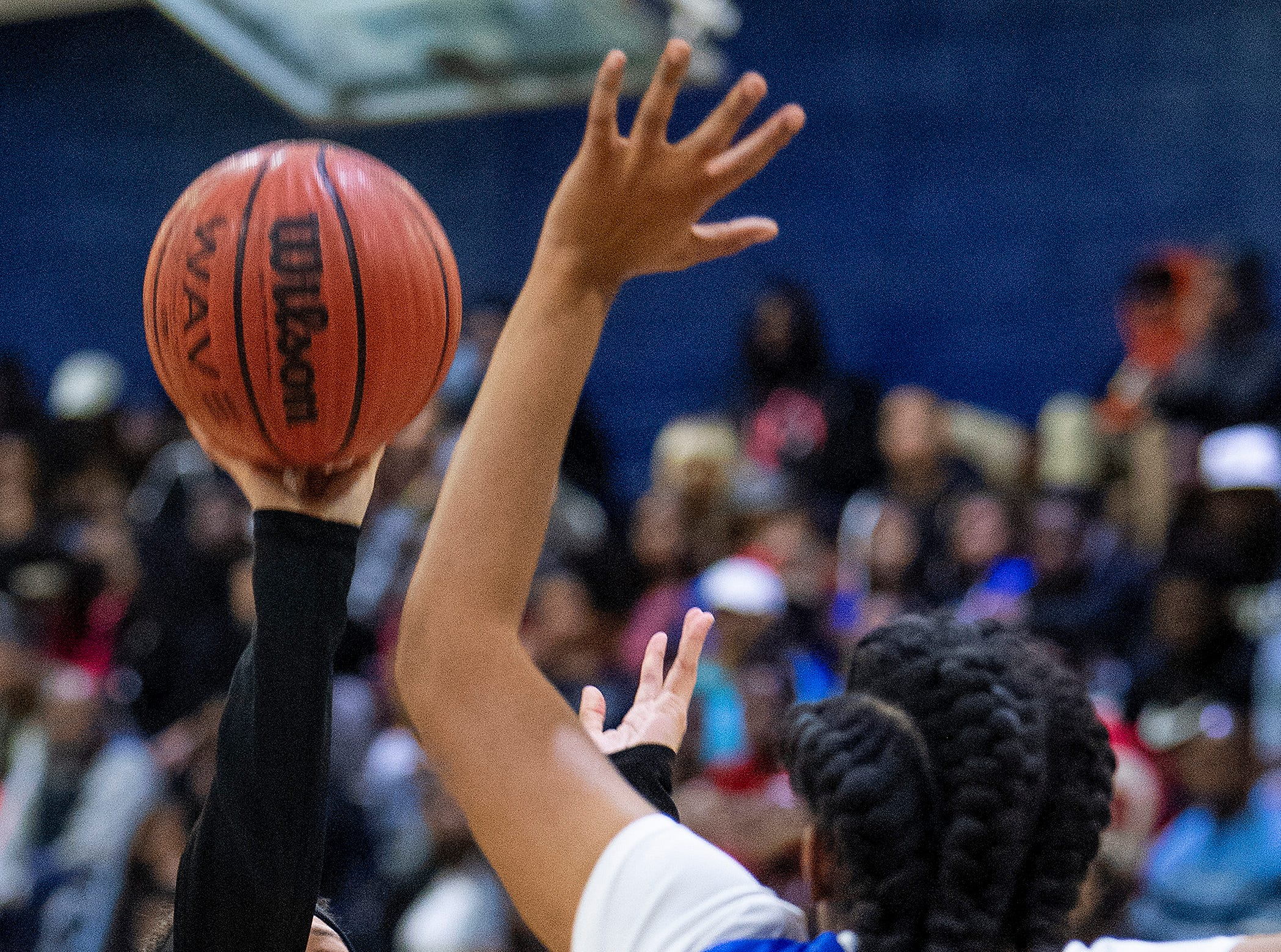 Carver's Kristin Brown (30) shoots against Lanier's Tierra Davis (40) at the Lanier campus in Montgomery, Ala., on Friday January 11, 2019.