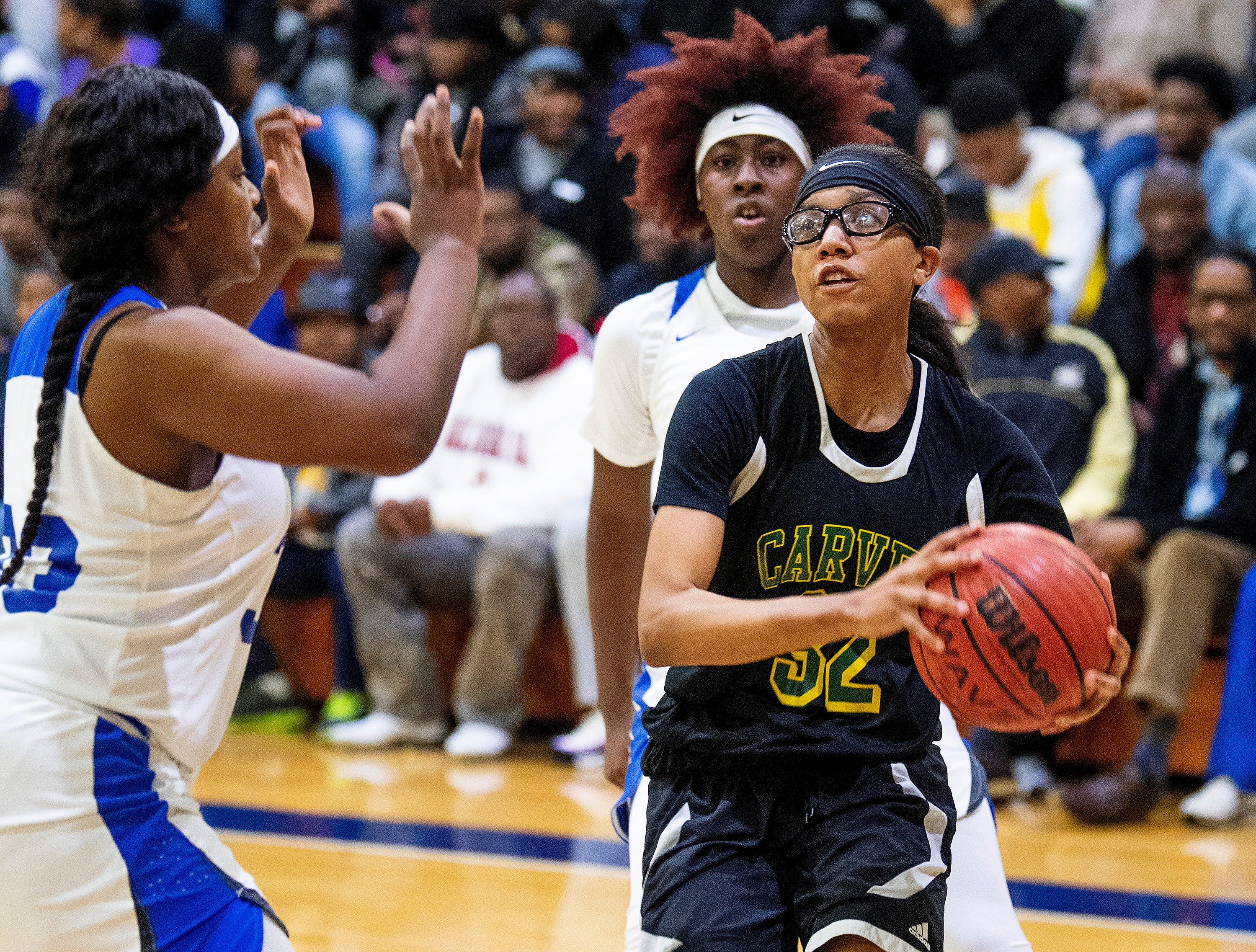 Carver's Jaquanna Spear (32) against Lanier at the Lanier campus in Montgomery, Ala., on Friday January 11, 2019.